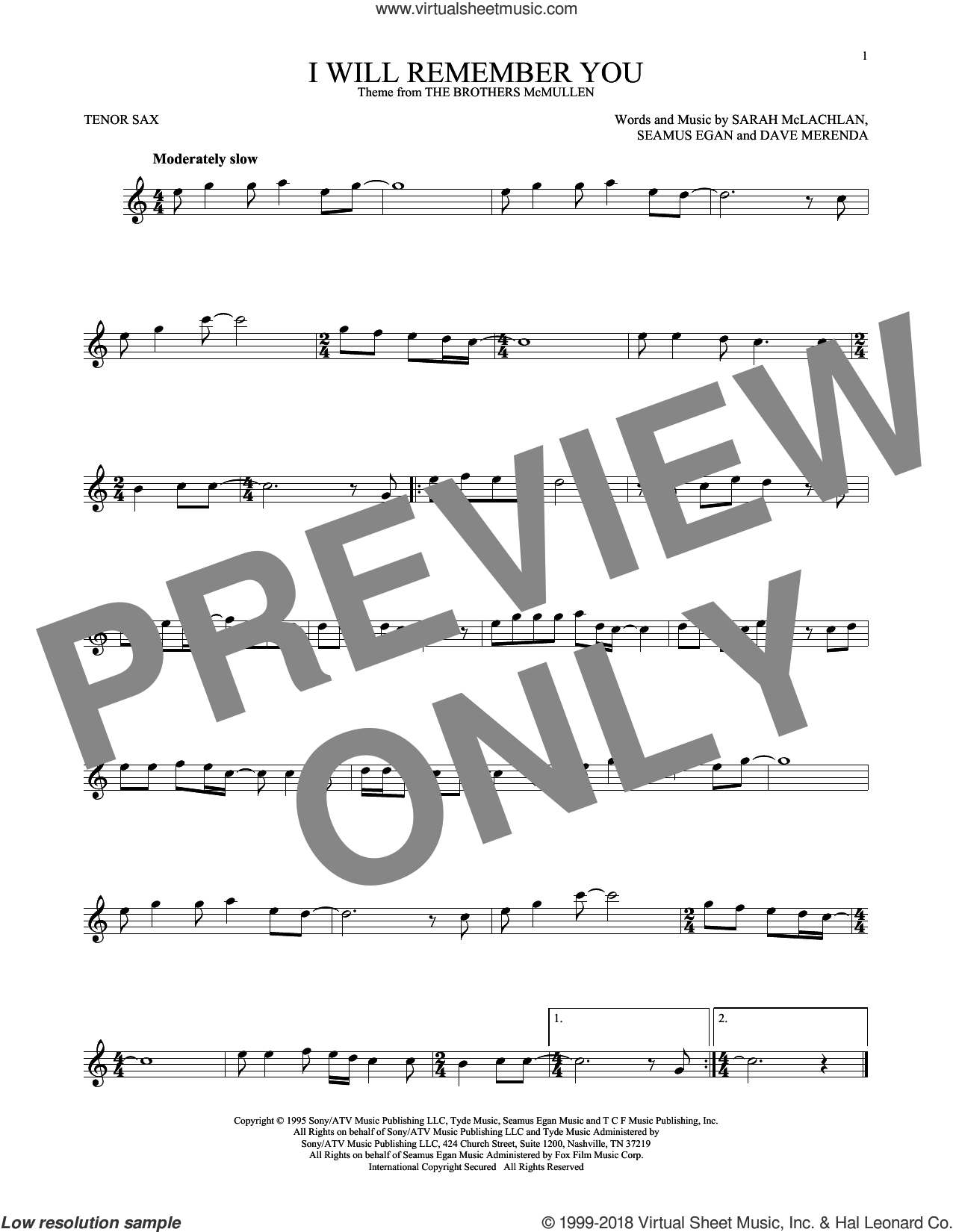 I Will Remember You sheet music for tenor saxophone solo by Sarah McLachlan, Dave Merenda and Seamus Egan, intermediate skill level
