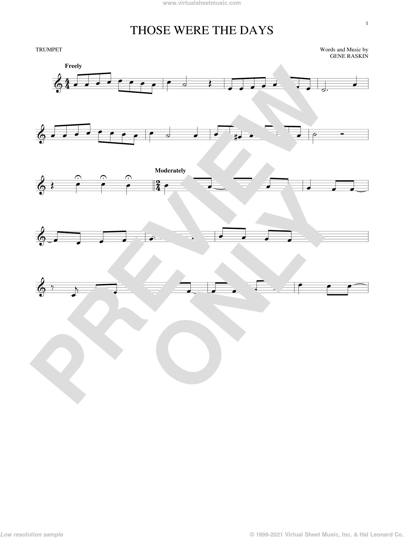 Those Were The Days sheet music for trumpet solo by Mary Hopkins and Gene Raskin, intermediate skill level