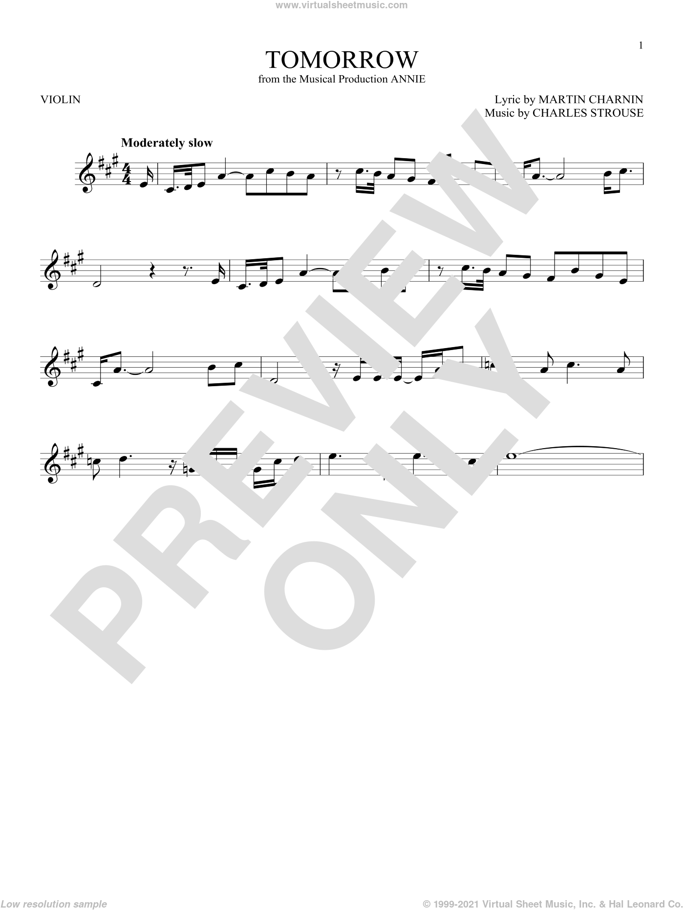 Tomorrow sheet music for violin solo by Martin Charnin and Charles Strouse. Score Image Preview.