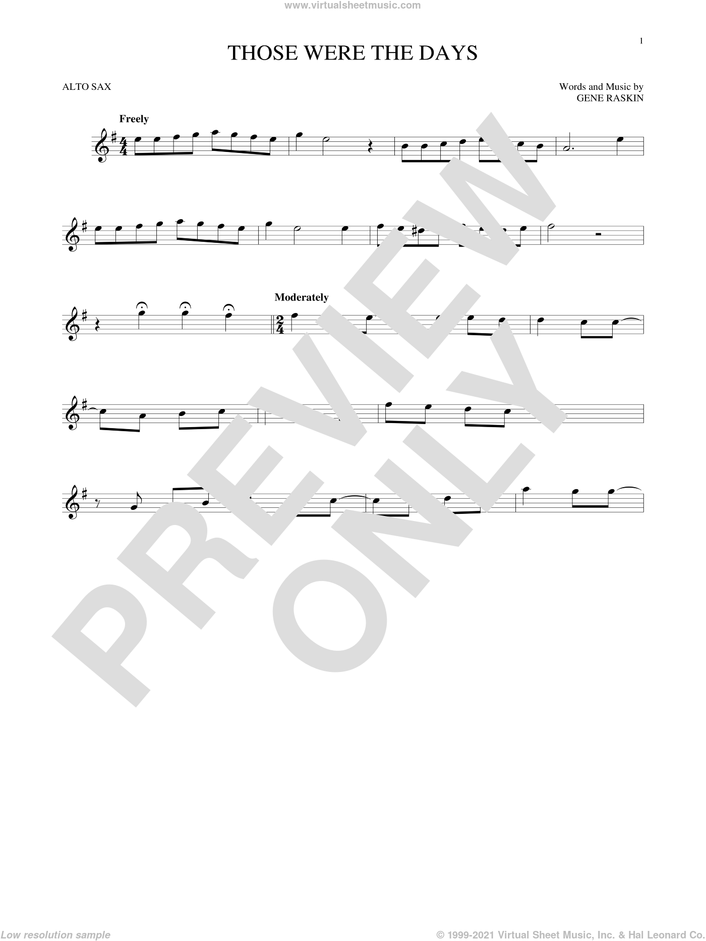 Those Were The Days sheet music for alto saxophone solo by Mary Hopkins and Gene Raskin, intermediate skill level
