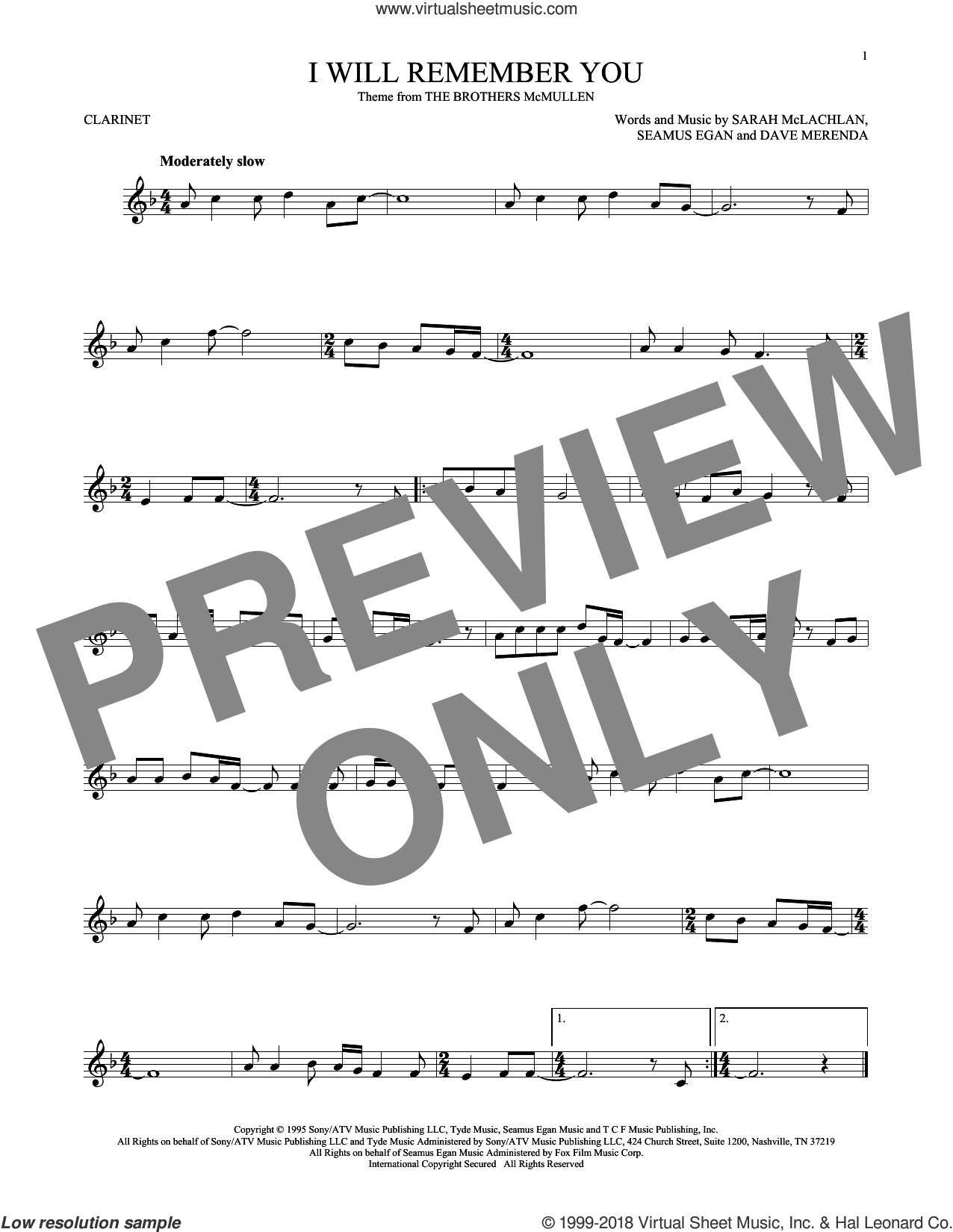 I Will Remember You sheet music for clarinet solo by Sarah McLachlan, Dave Merenda and Seamus Egan, intermediate skill level