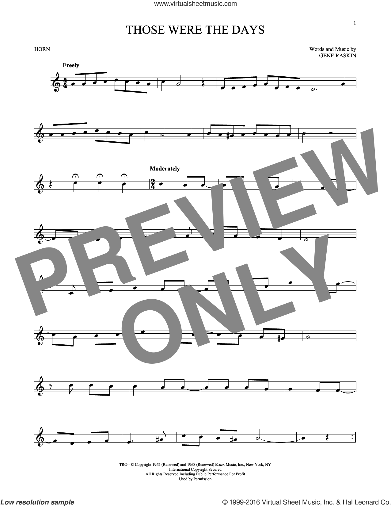 Those Were The Days sheet music for horn solo by Gene Raskin. Score Image Preview.