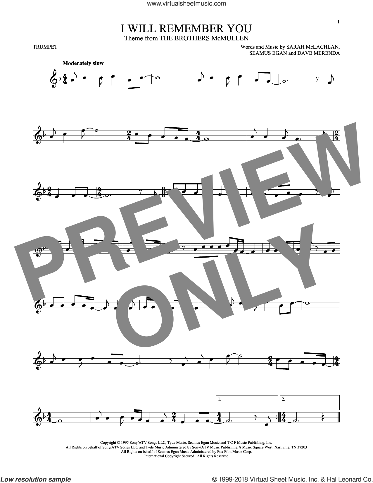 I Will Remember You sheet music for trumpet solo by Sarah McLachlan, Dave Merenda and Seamus Egan, intermediate skill level
