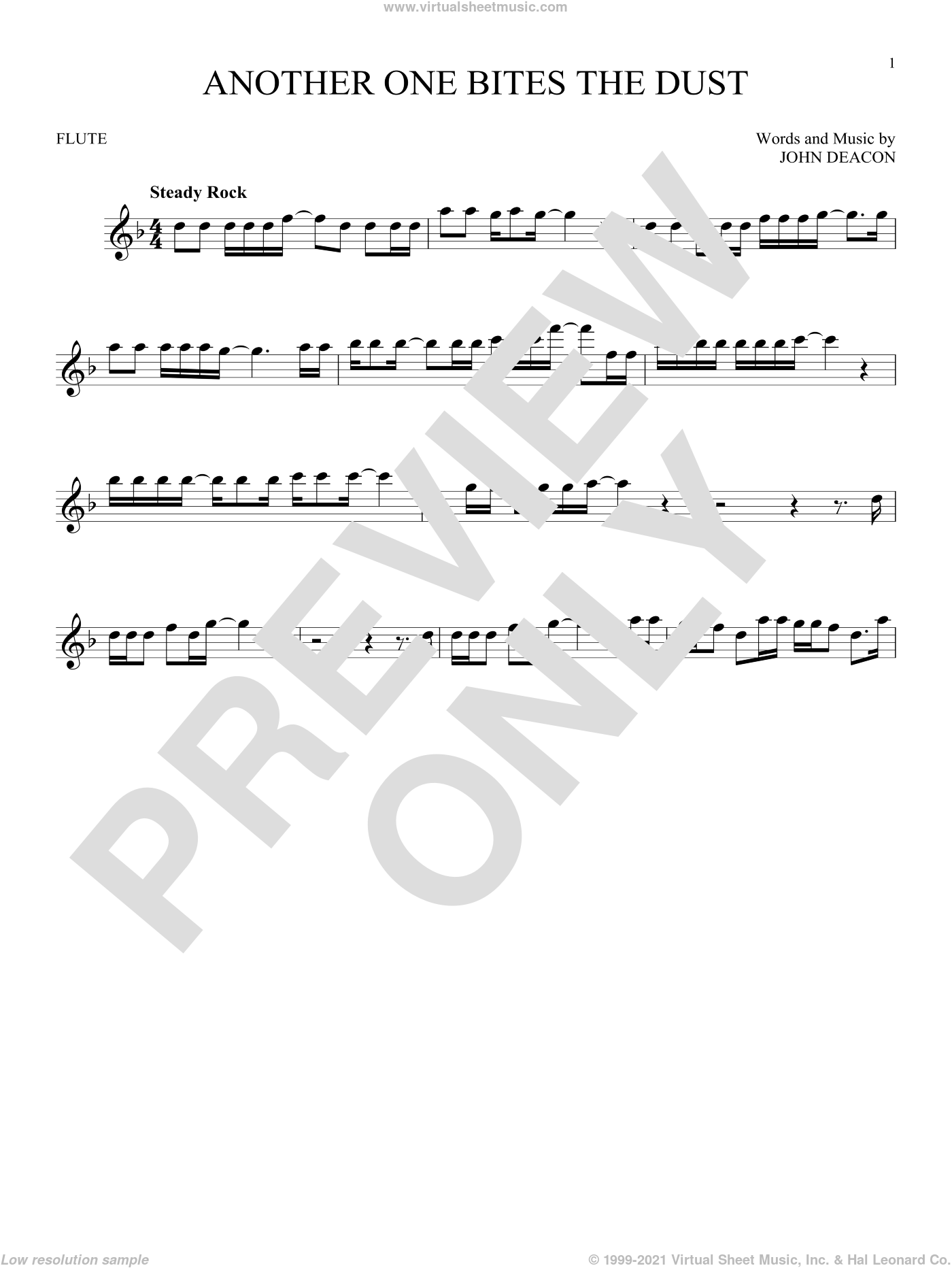 Another One Bites The Dust sheet music for flute solo by Queen and John Deacon, intermediate skill level