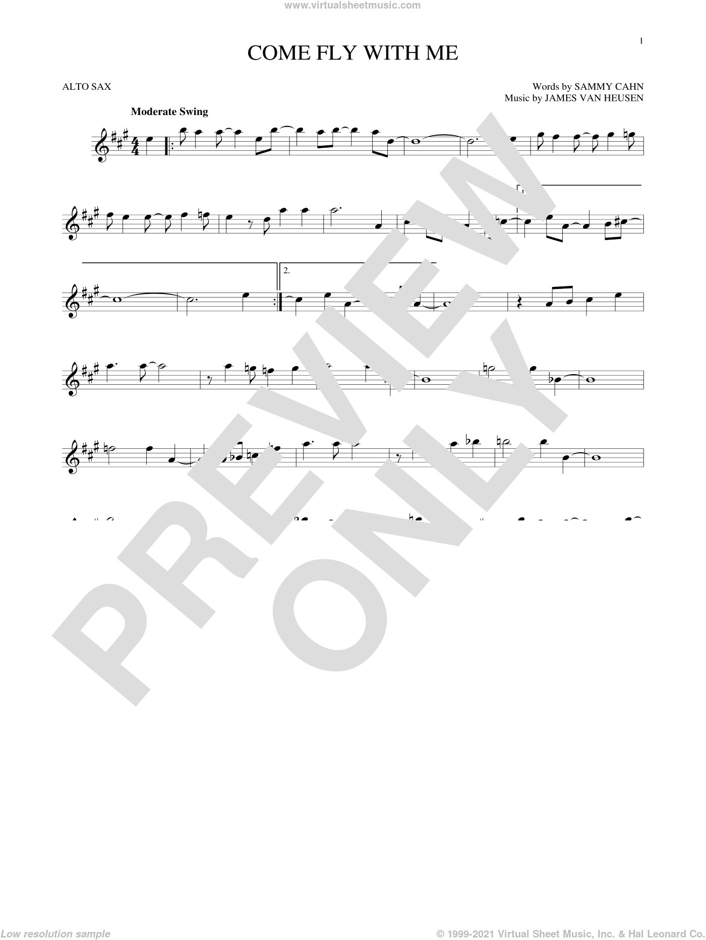 Come Fly With Me sheet music for alto saxophone solo by Sammy Cahn, Jimmy van Heusen and Sammy Cahn & James Van Heusen, intermediate skill level