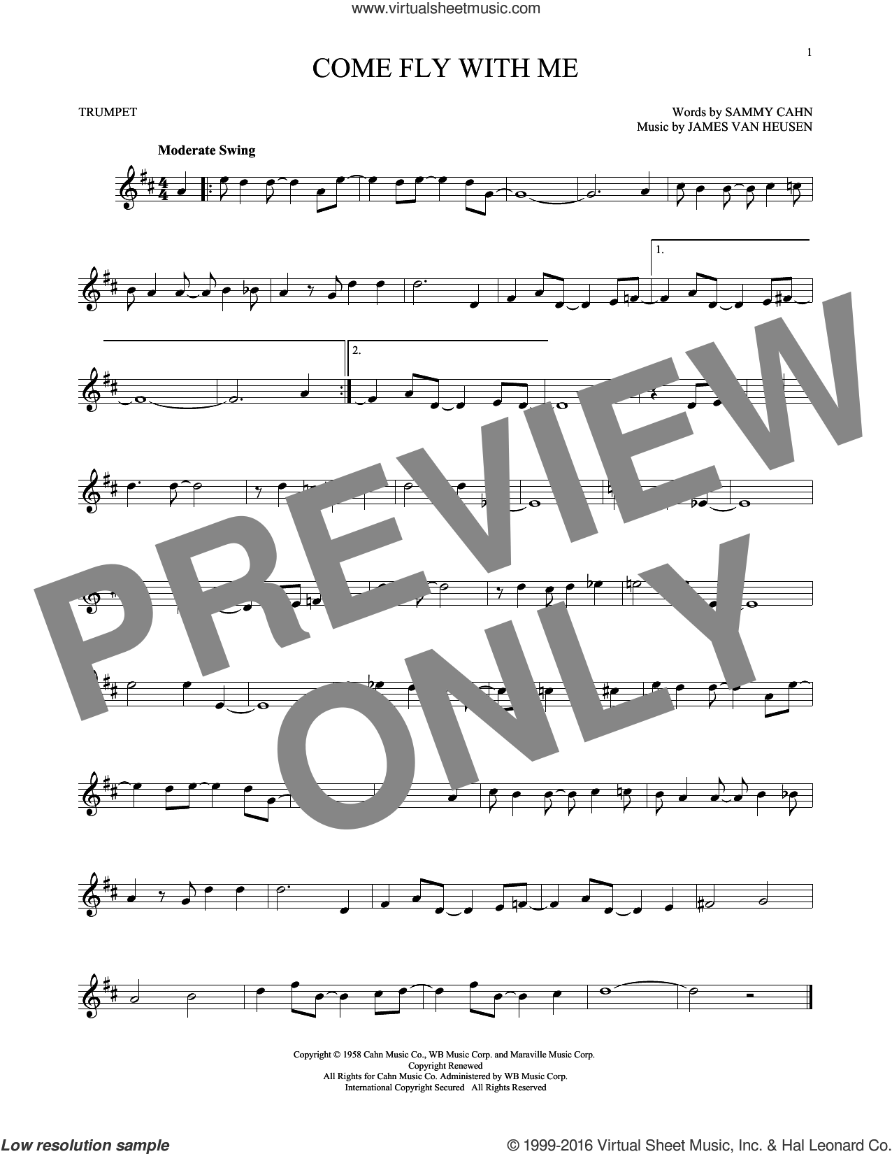 Come Fly With Me sheet music for trumpet solo by Sammy Cahn and Jimmy van Heusen, intermediate. Score Image Preview.