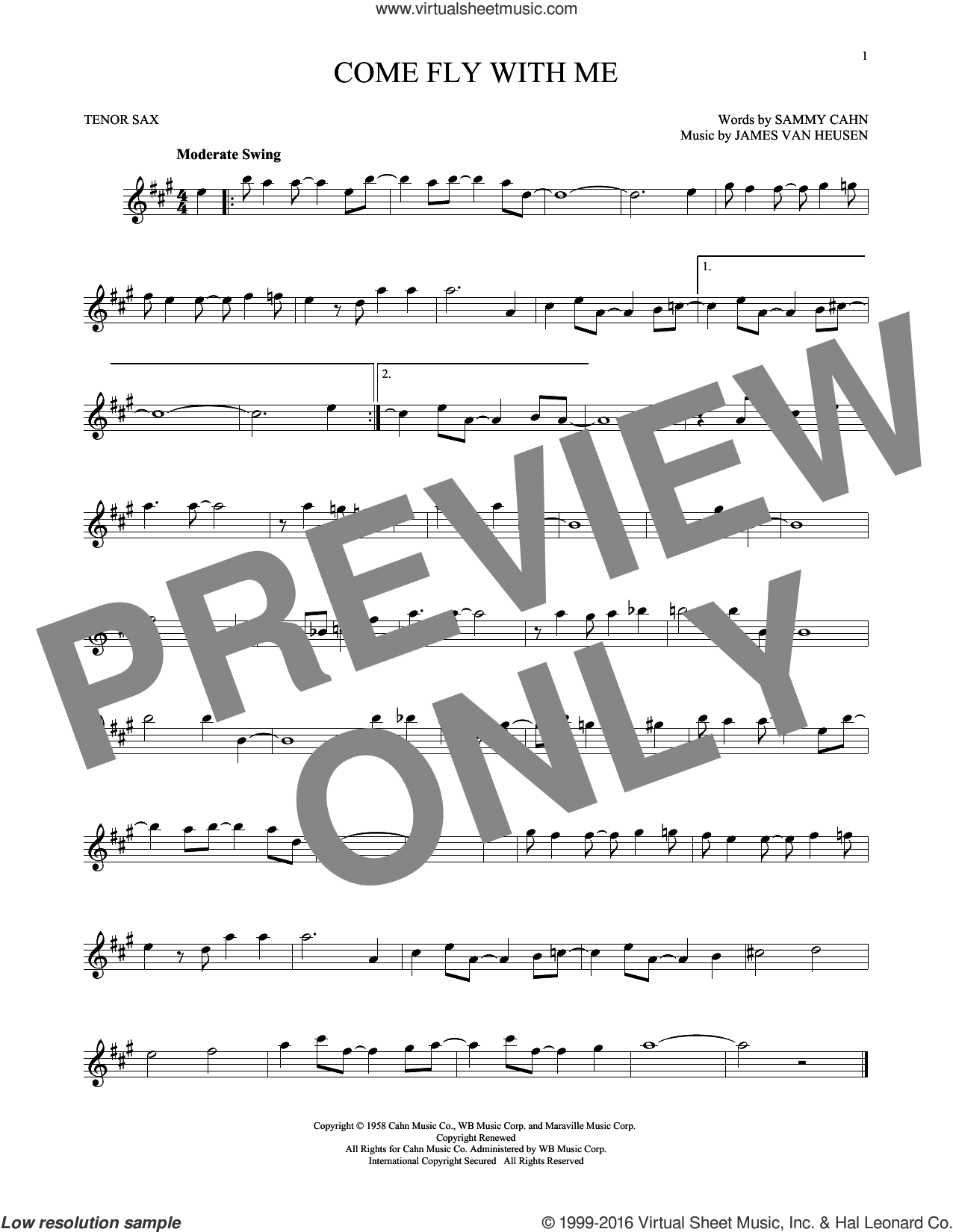 Come Fly With Me sheet music for tenor saxophone solo by Sammy Cahn and Jimmy van Heusen. Score Image Preview.