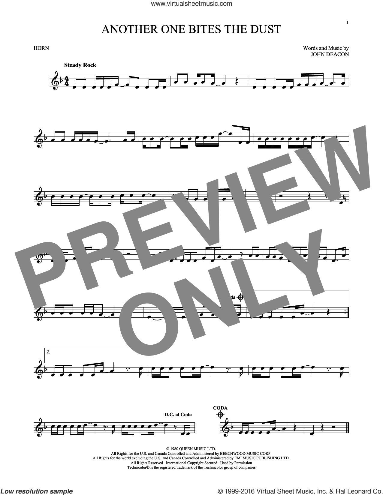 Another One Bites The Dust sheet music for horn solo by Queen and John Deacon, intermediate skill level