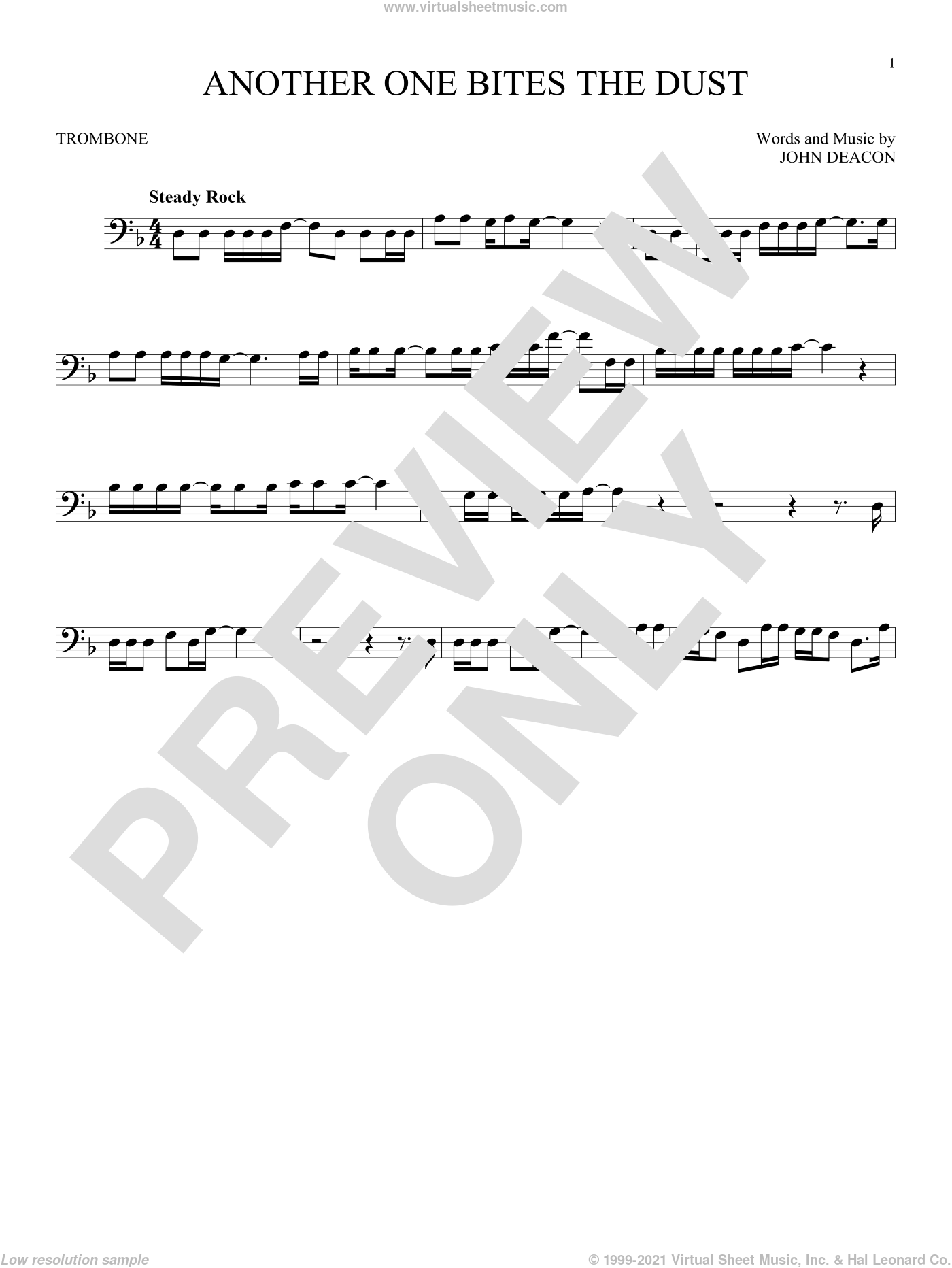 Another One Bites The Dust sheet music for trombone solo by Queen and John Deacon, intermediate skill level