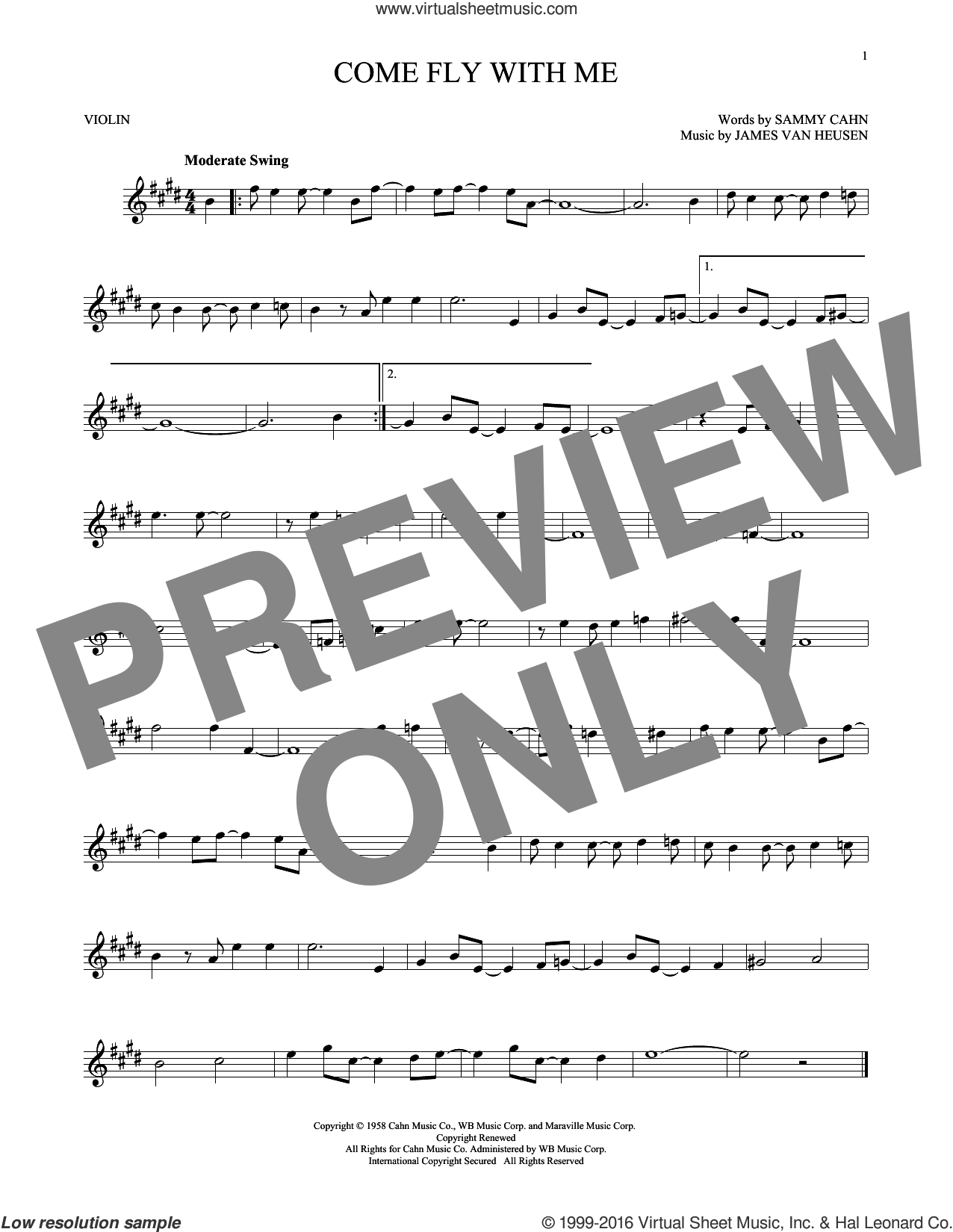 Come Fly With Me sheet music for violin solo by Sammy Cahn and Jimmy van Heusen. Score Image Preview.
