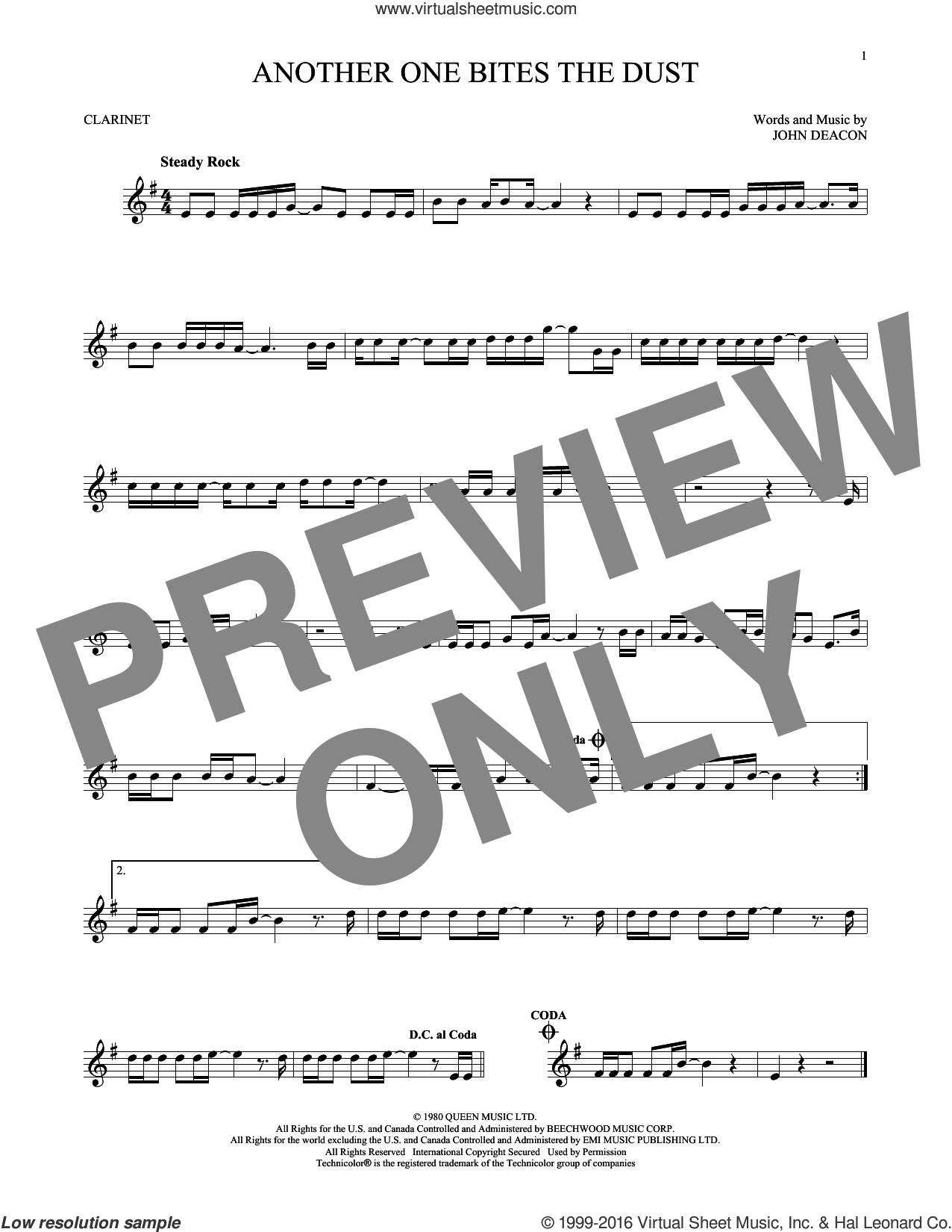 Another One Bites The Dust sheet music for clarinet solo by Queen and John Deacon, intermediate skill level