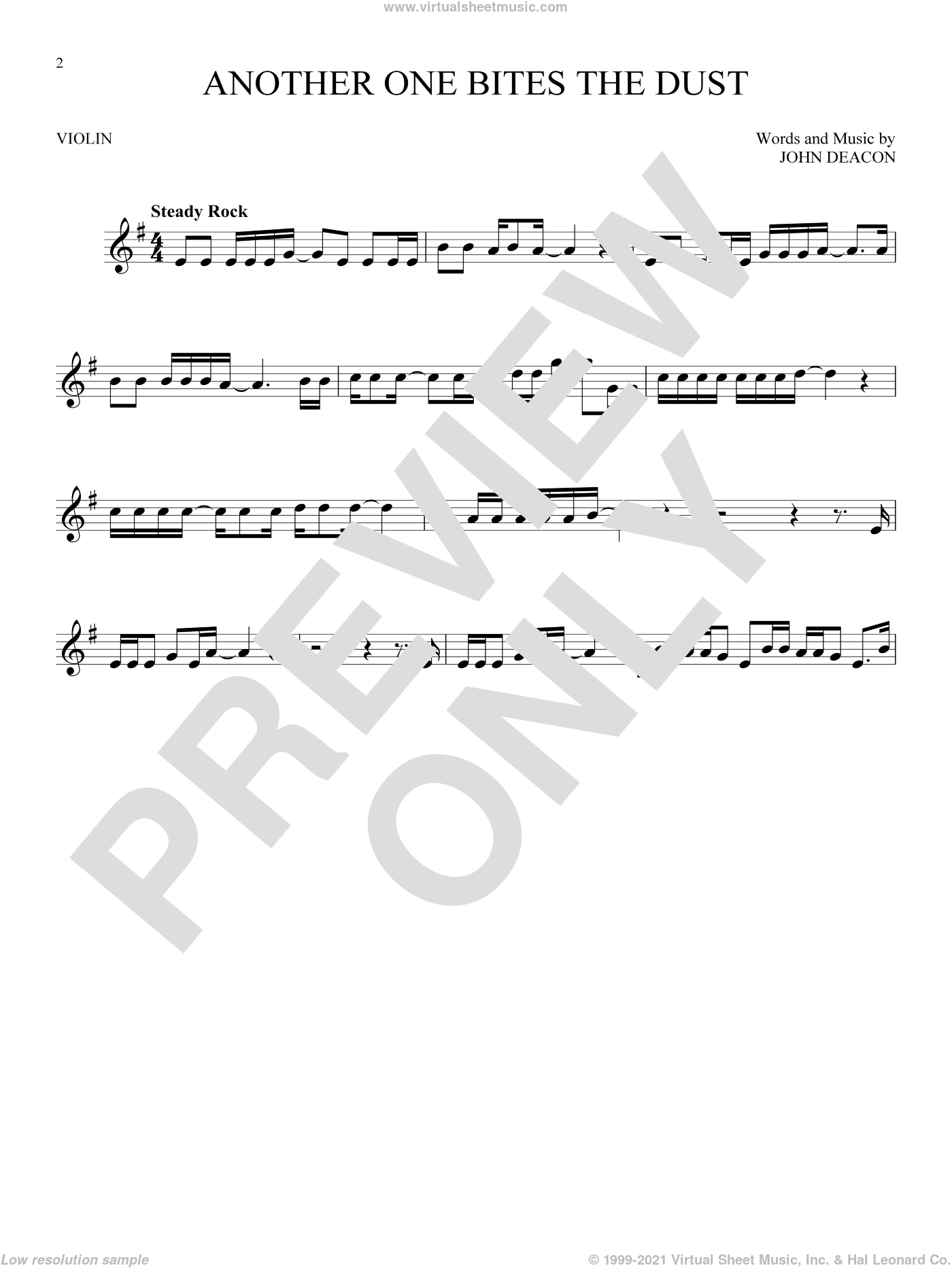 Another One Bites The Dust sheet music for violin solo by Queen and John Deacon, intermediate skill level