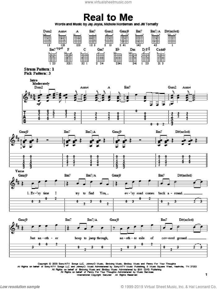 Real To Me sheet music for guitar solo (easy tablature) by Jill Tomalty, Jay Joyce and Nichole Nordeman. Score Image Preview.