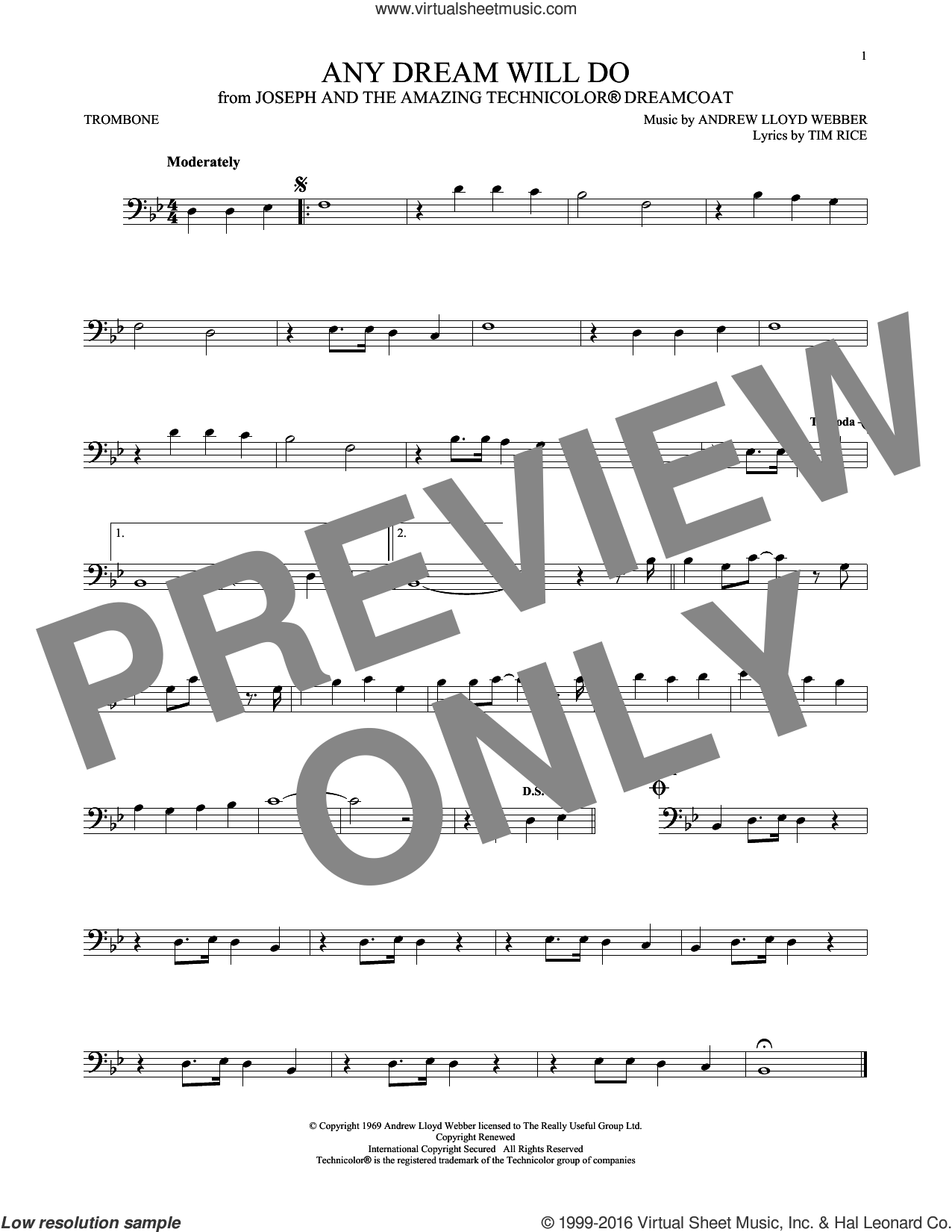 Any Dream Will Do sheet music for trombone solo by Tim Rice and Andrew Lloyd Webber. Score Image Preview.