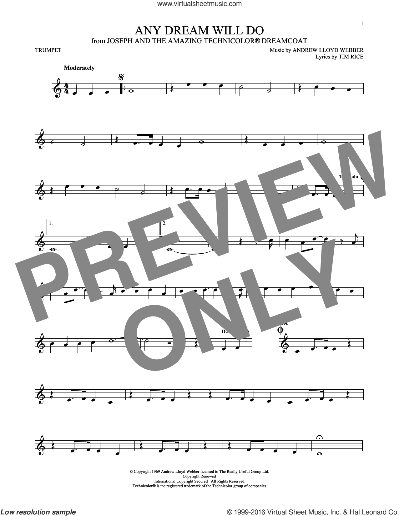 Any Dream Will Do sheet music for trumpet solo by Tim Rice and Andrew Lloyd Webber. Score Image Preview.
