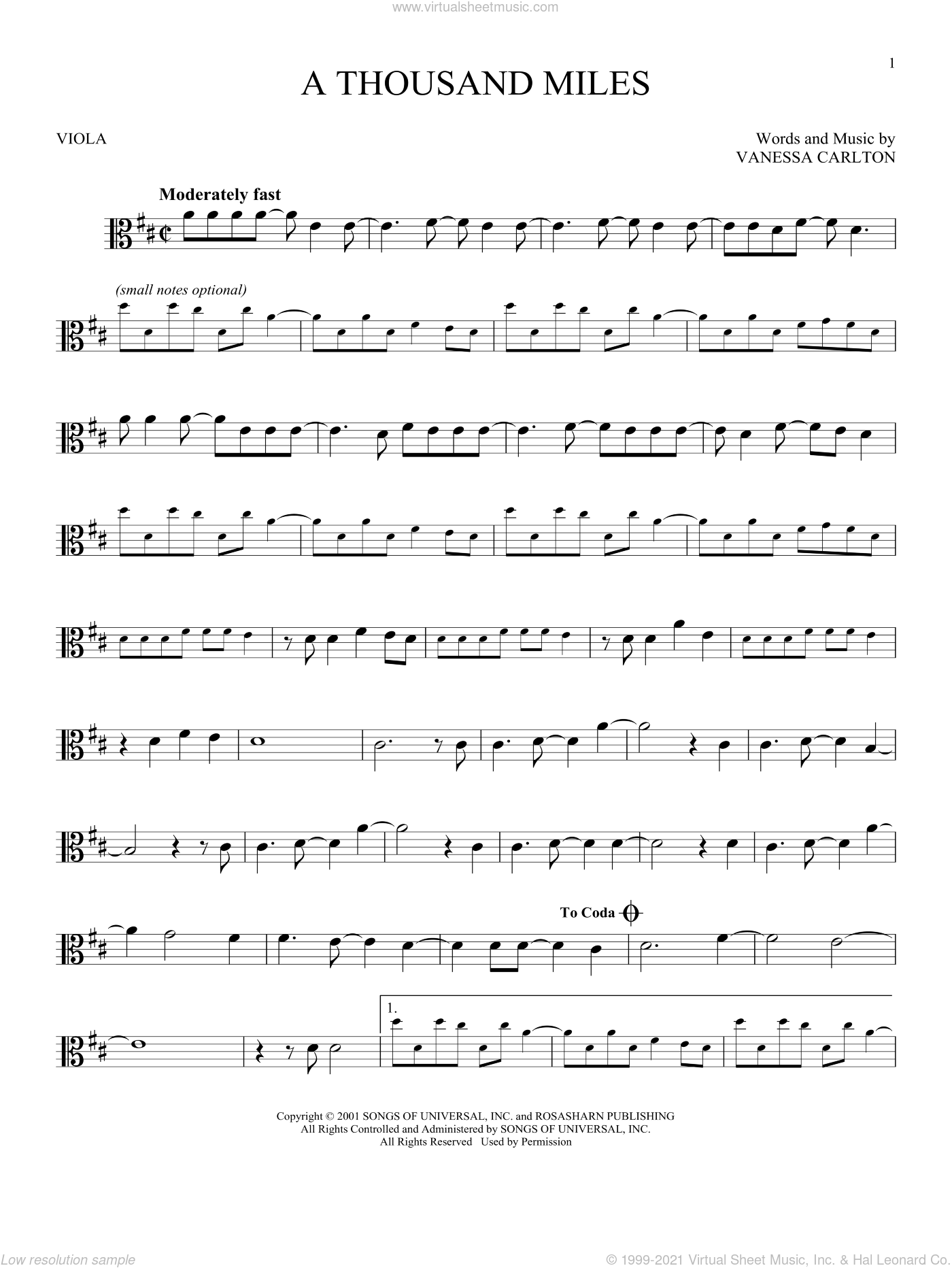 A Thousand Miles sheet music for viola solo by Vanessa Carlton, intermediate skill level