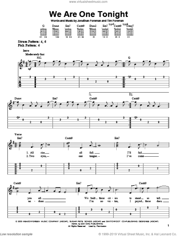 We Are One Tonight sheet music for guitar solo (easy tablature) by Switchfoot, Jonathan Foreman and Tim Foreman, easy guitar (easy tablature)