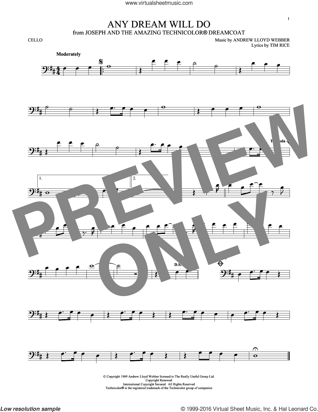 Any Dream Will Do (from Joseph and the Amazing Technicolor Dreamcoat) sheet music for cello solo by Andrew Lloyd Webber, Andrew Lloyd Webber & Tim Rice and Tim Rice, intermediate skill level