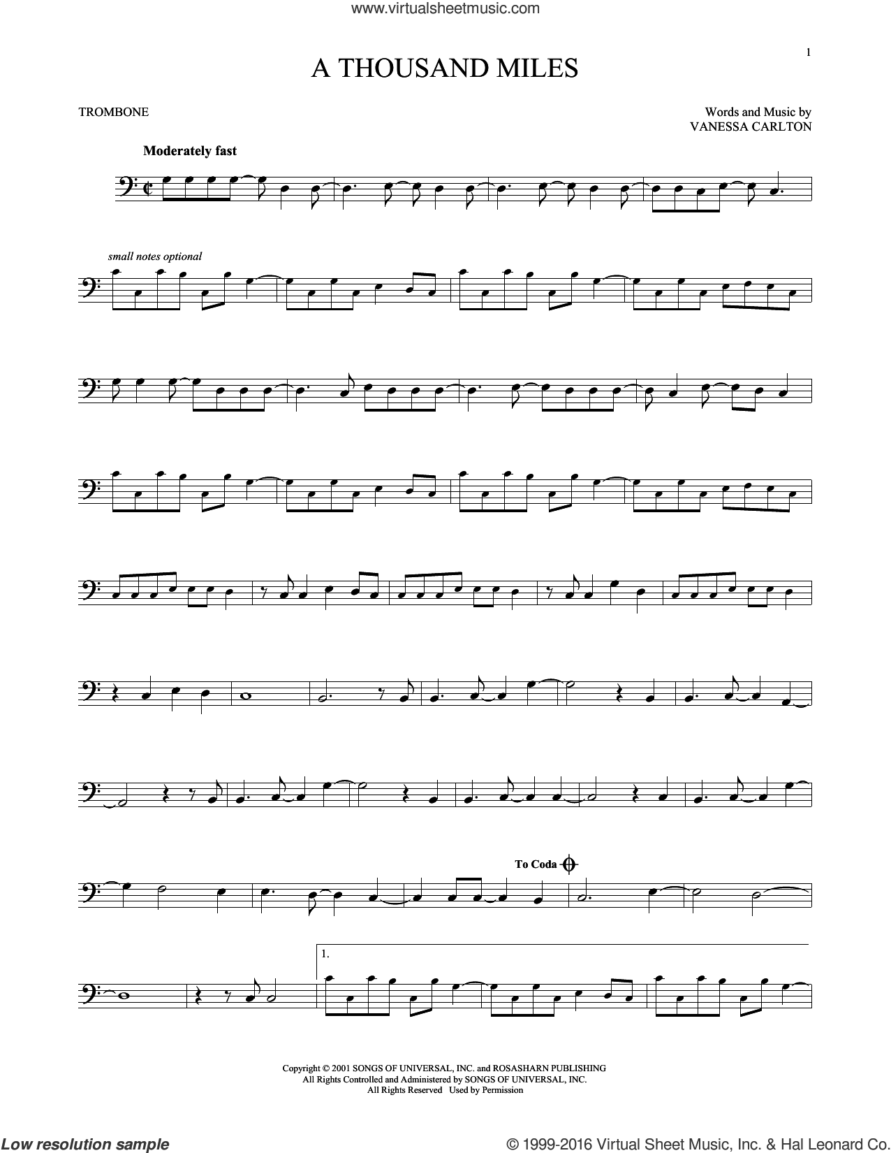 A Thousand Miles sheet music for trombone solo by Vanessa Carlton, intermediate skill level