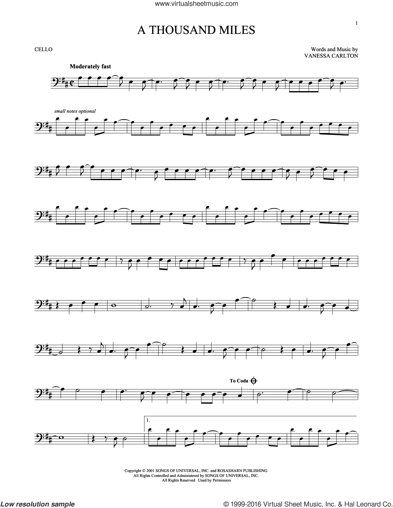 A Thousand Miles sheet music for cello solo by Vanessa Carlton, intermediate skill level