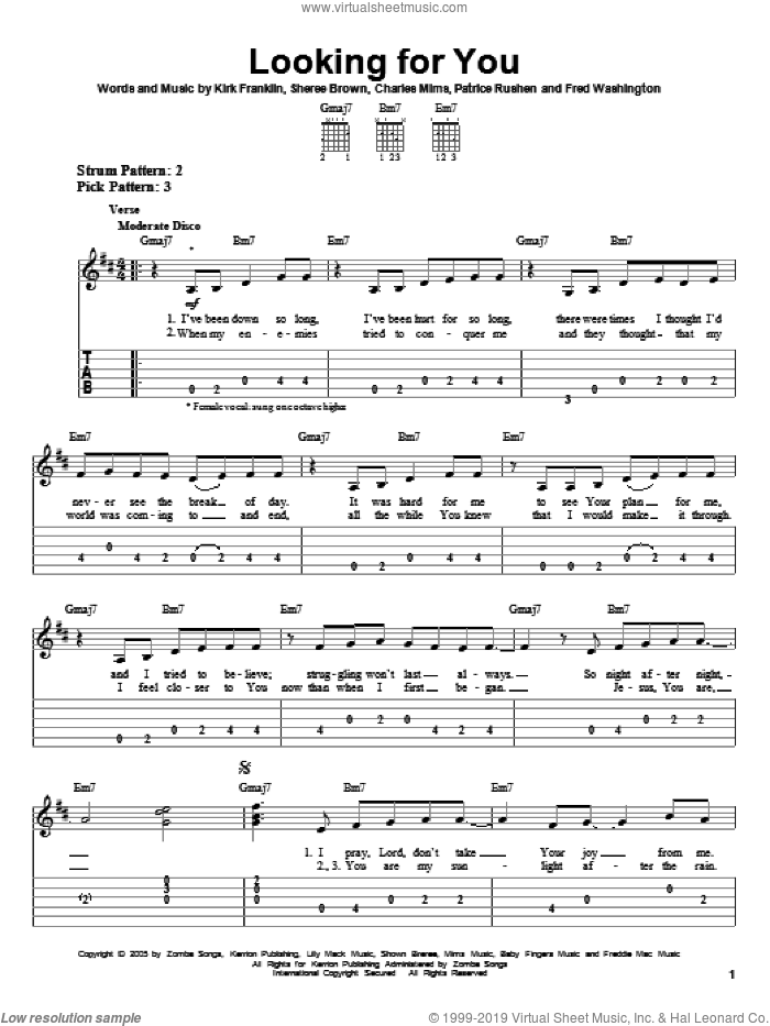 Looking For You sheet music for guitar solo (easy tablature) by Kirk Franklin, Charles Mims, Fred Washington, Patrice Rushen and Sheree Brown, easy guitar (easy tablature)