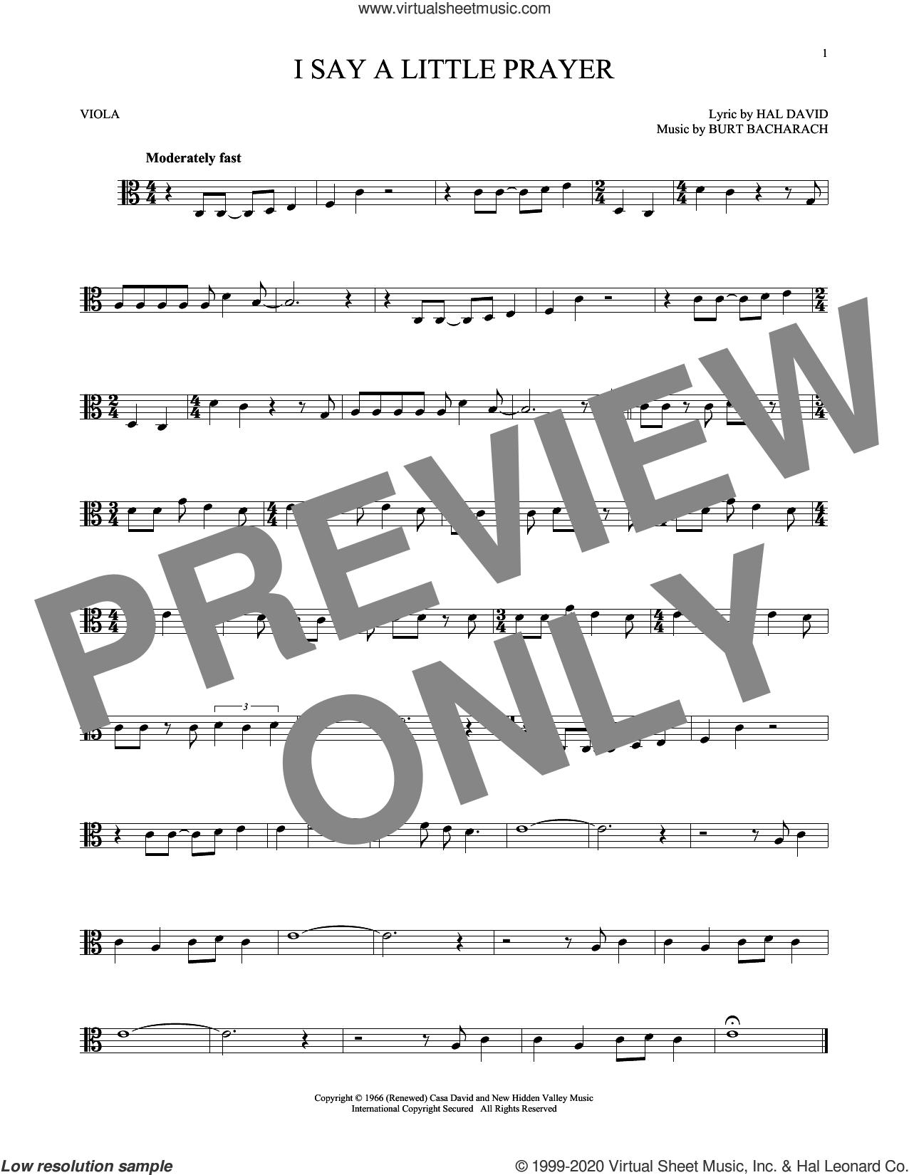 I Say A Little Prayer sheet music for viola solo by Burt Bacharach, Bacharach & David and Hal David, intermediate skill level
