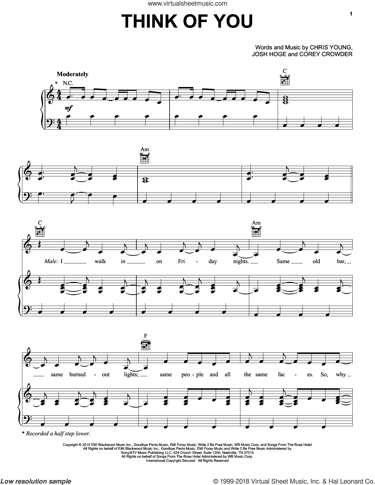 Think Of You sheet music for voice, piano or guitar by Chris Young with Cassadee Pope, Chris Young, Corey Crowder and Josh Hoge, intermediate skill level