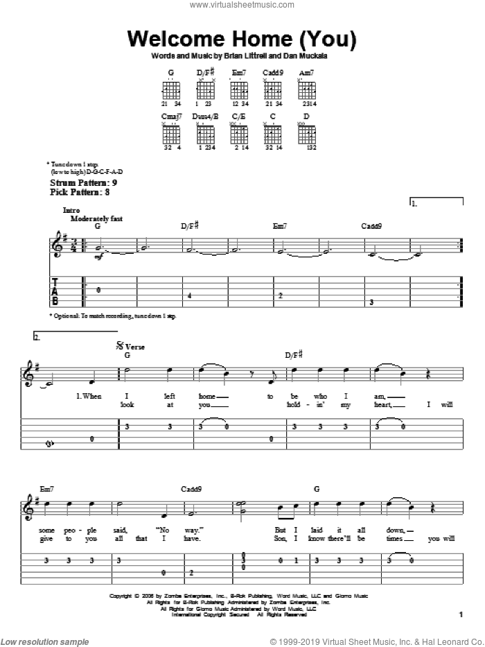 Welcome Home (You) sheet music for guitar solo (easy tablature) by Dan Muckala and Brian Litrell. Score Image Preview.