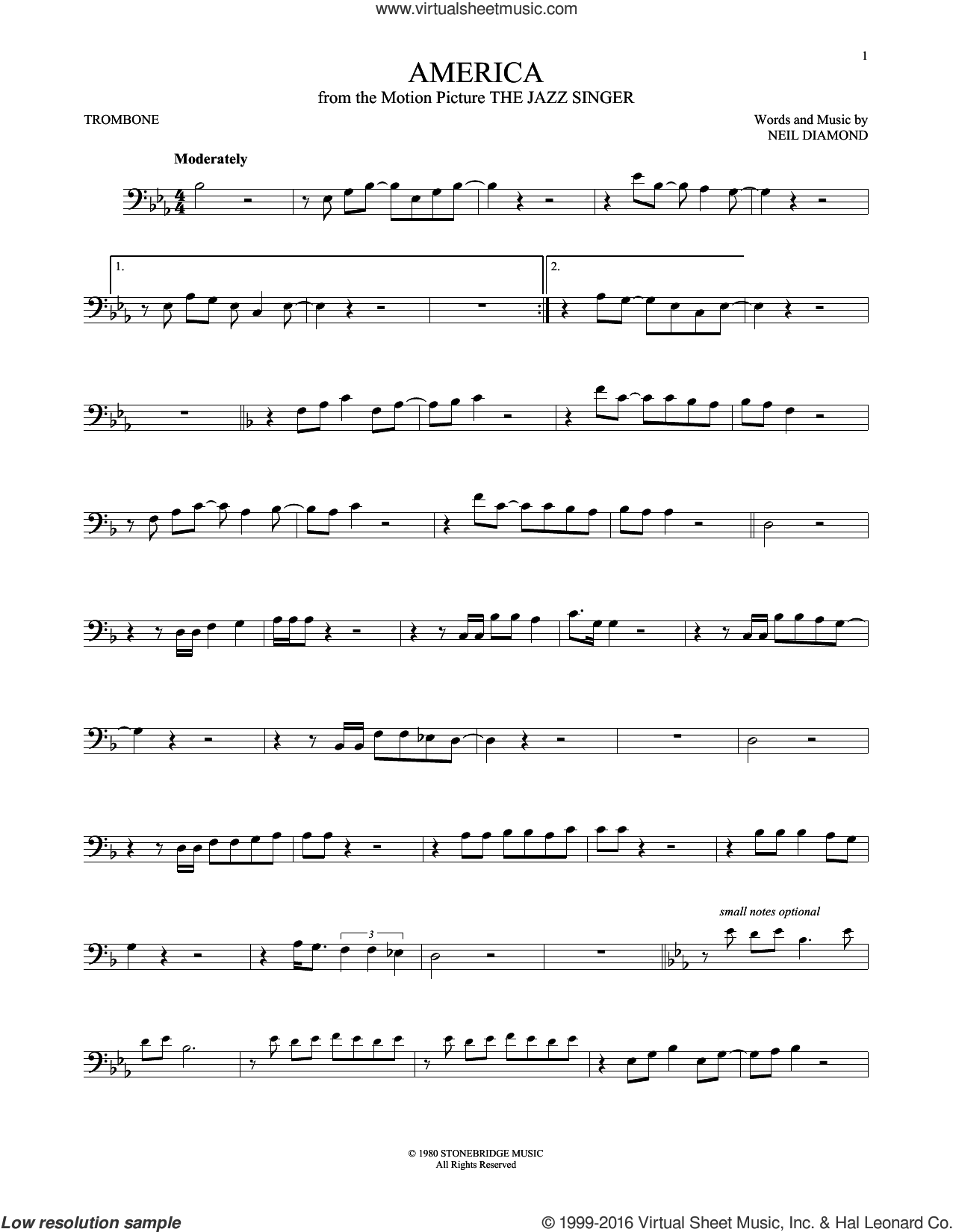 America sheet music for trombone solo by Neil Diamond, intermediate. Score Image Preview.