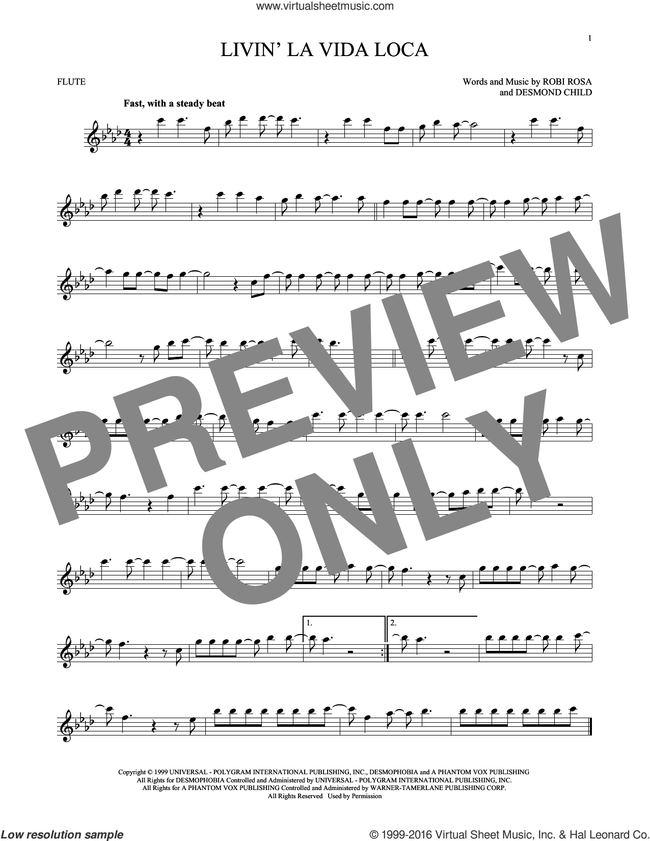 Livin' La Vida Loca sheet music for flute solo by Ricky Martin, Desmond Child and Robi Rosa, intermediate skill level