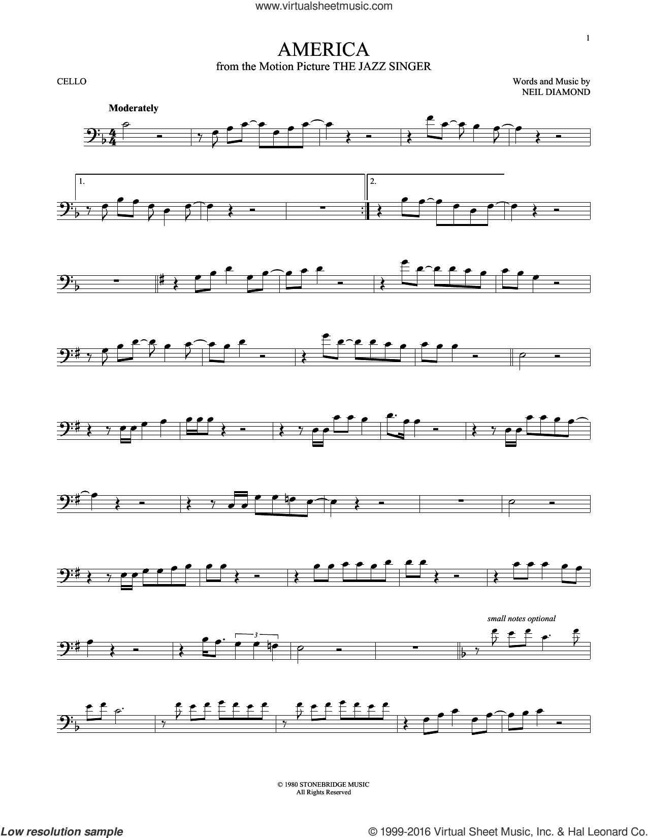 America sheet music for cello solo by Neil Diamond, intermediate. Score Image Preview.