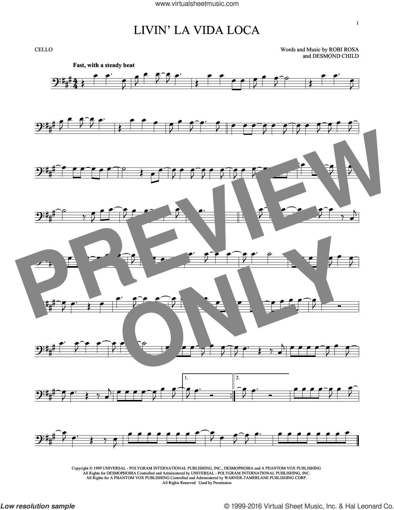 Livin' La Vida Loca sheet music for cello solo by Ricky Martin, Desmond Child and Robi Rosa, intermediate skill level