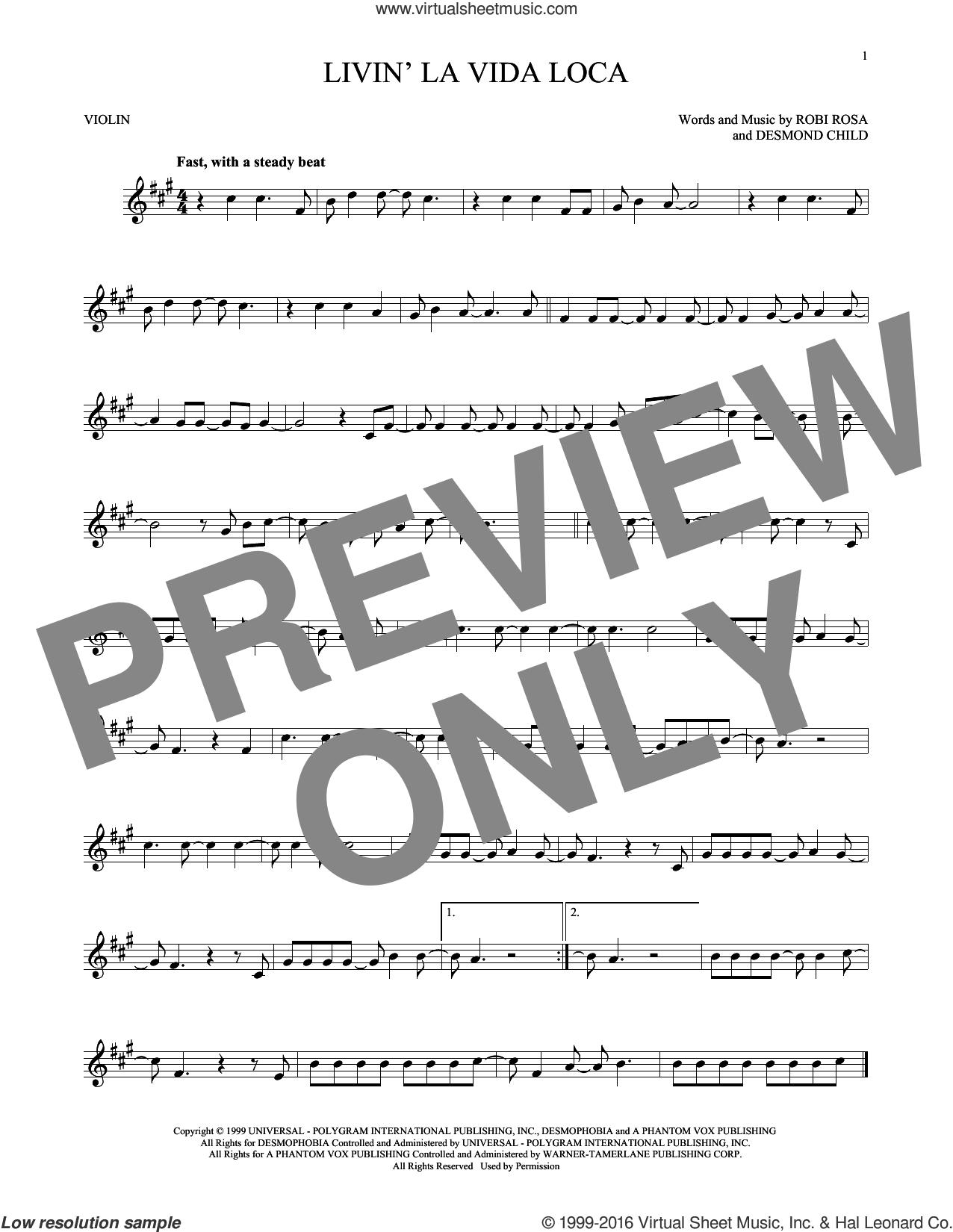 Livin' La Vida Loca sheet music for violin solo by Ricky Martin, Desmond Child and Robi Rosa, intermediate skill level