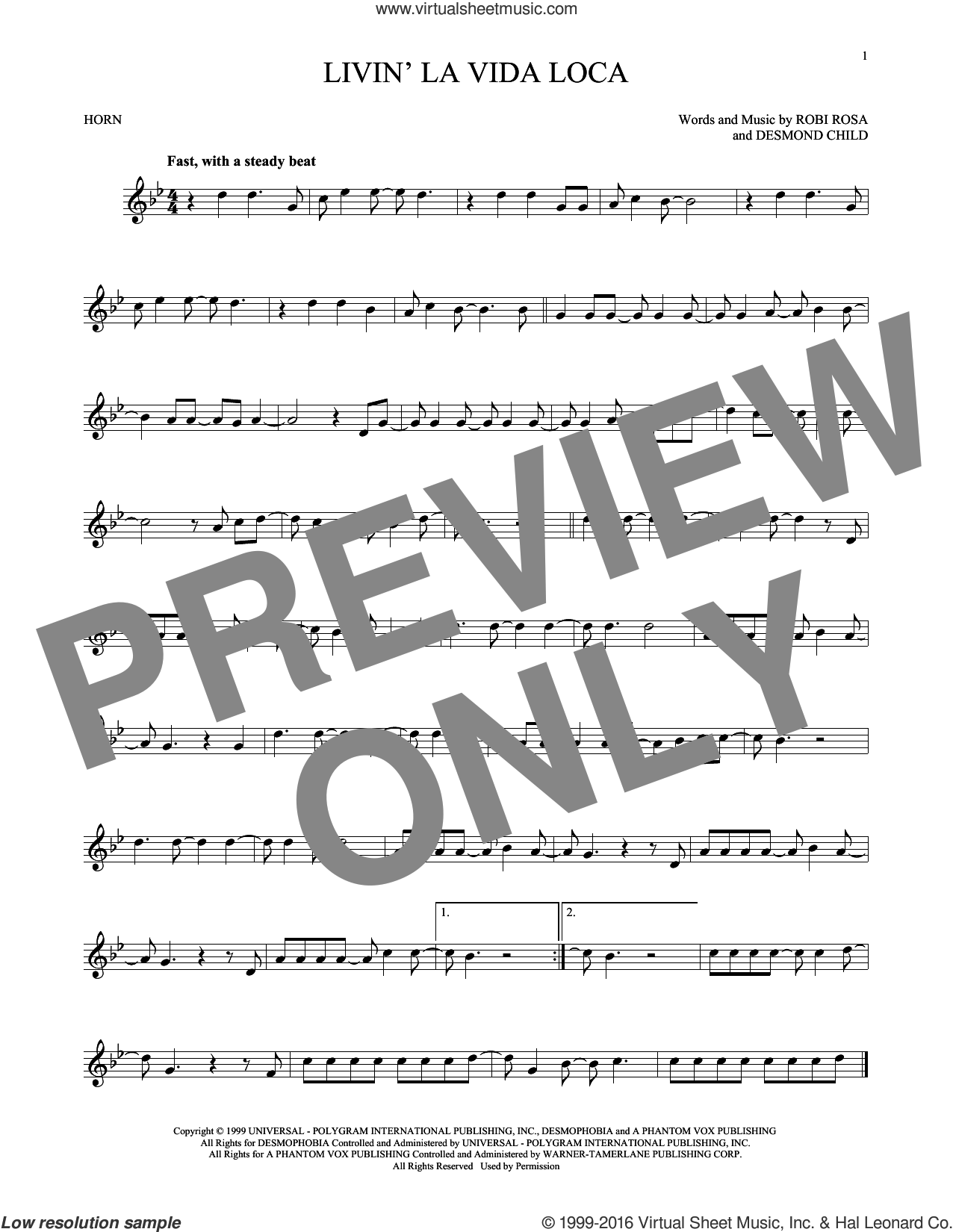 Livin' La Vida Loca sheet music for horn solo by Ricky Martin, Desmond Child and Robi Rosa, intermediate skill level