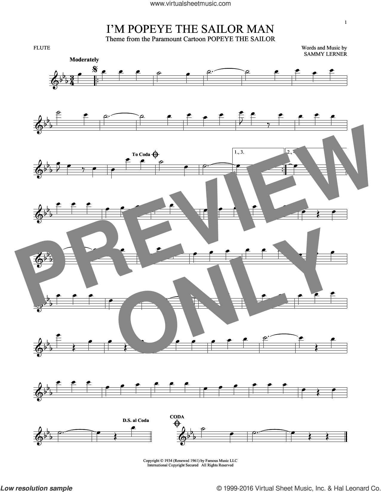 I'm Popeye The Sailor Man sheet music for flute solo by Sammy Lerner, intermediate skill level