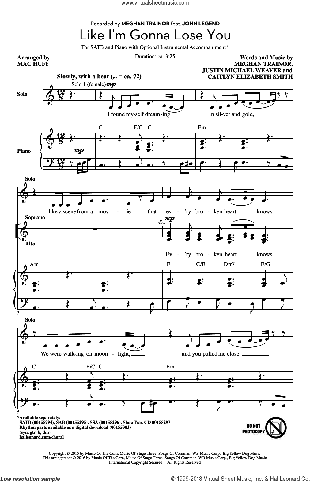 Like I'm Gonna Lose You sheet music for choir (SATB) by Mac Huff and Meghan Trainor, intermediate choir (SATB). Score Image Preview.