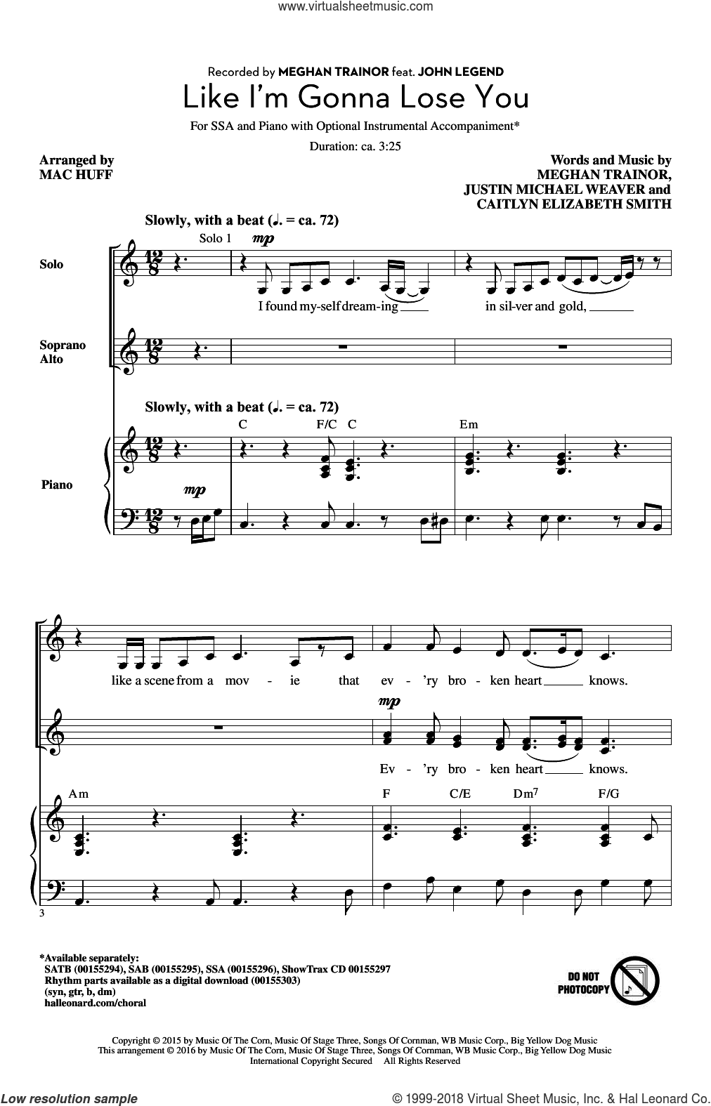 Like I'm Gonna Lose You sheet music for choir (SSA: soprano, alto) by Mac Huff and Meghan Trainor, intermediate skill level