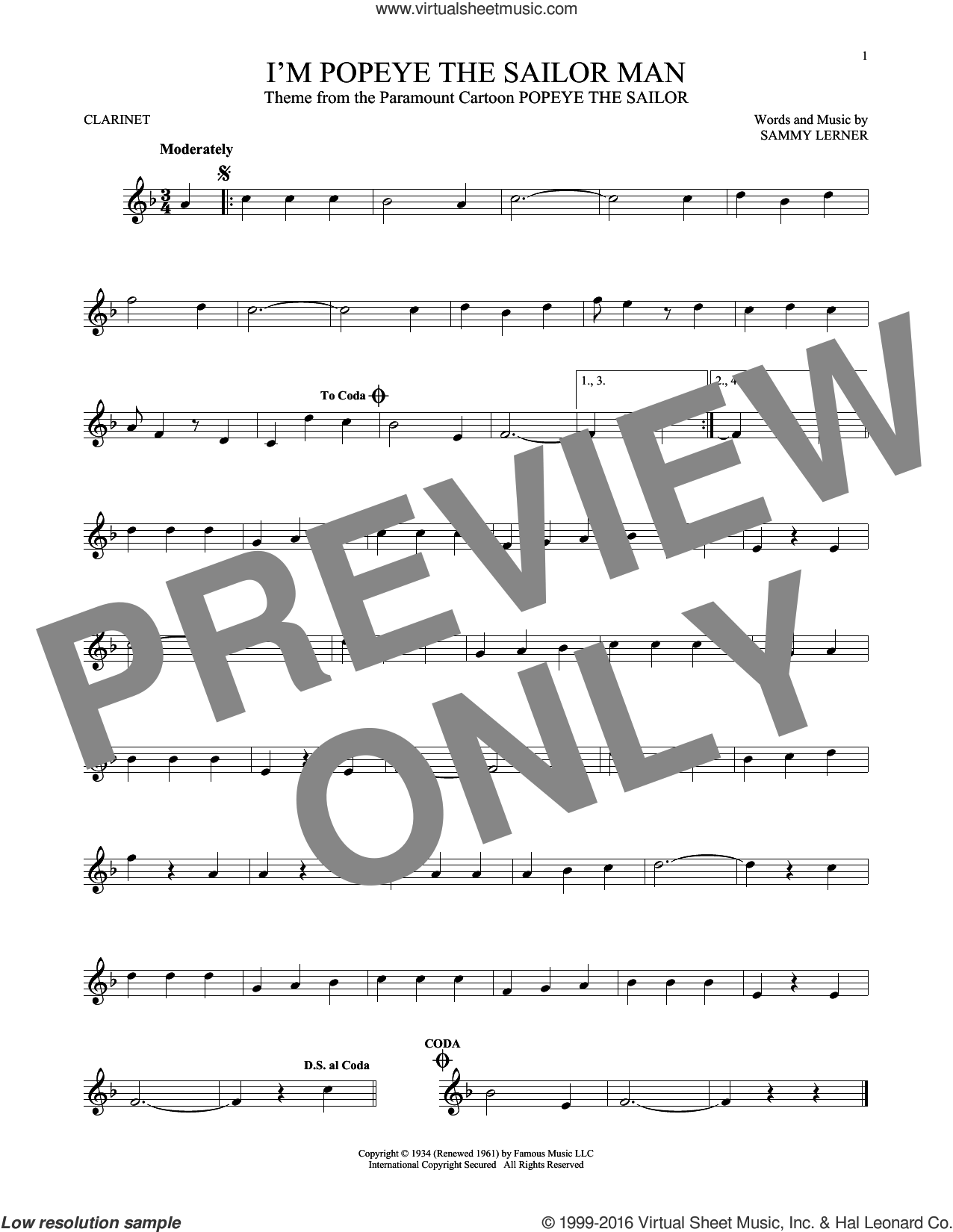 I'm Popeye The Sailor Man sheet music for clarinet solo by Sammy Lerner, intermediate. Score Image Preview.