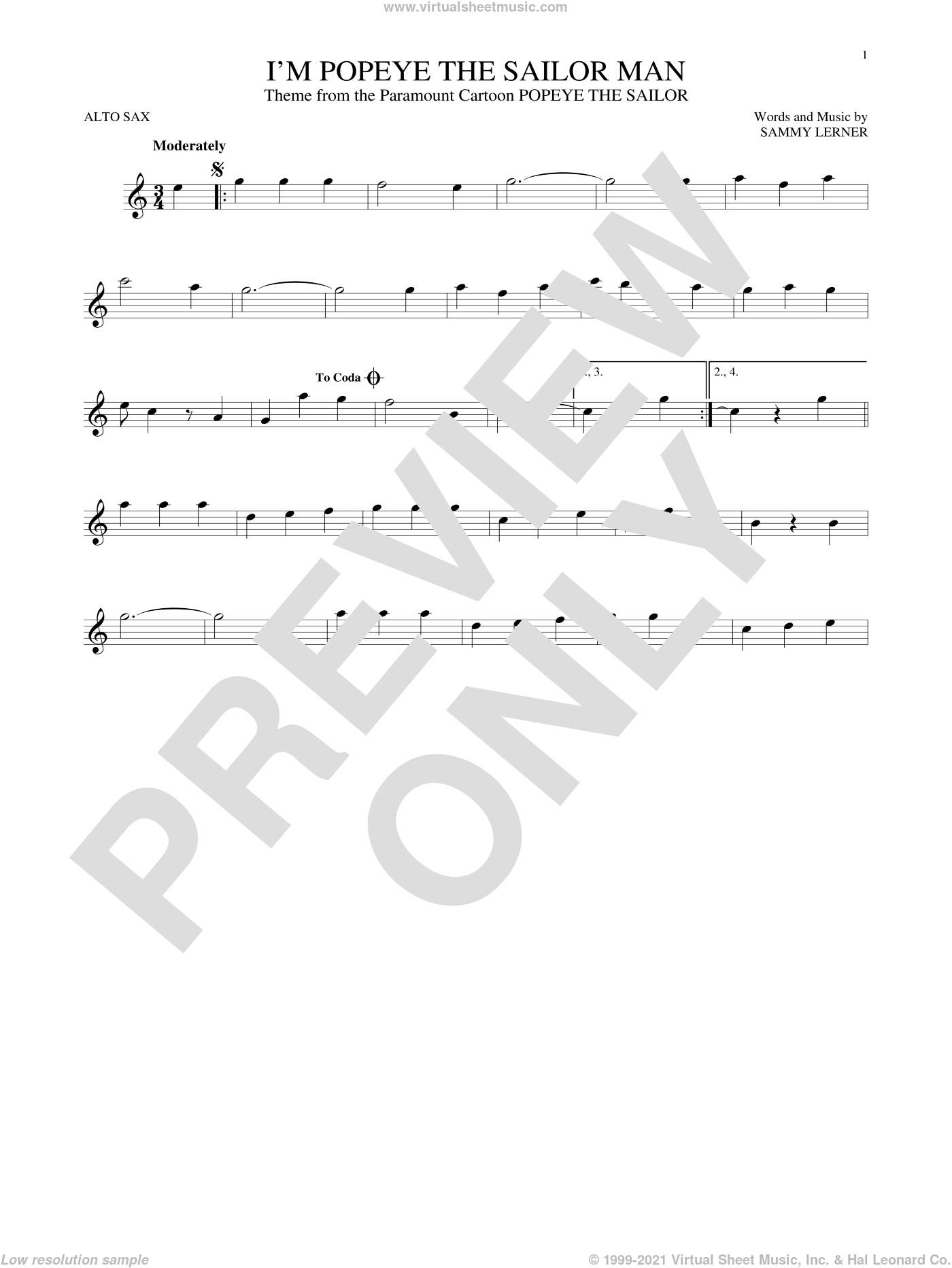 I'm Popeye The Sailor Man sheet music for alto saxophone solo by Sammy Lerner, intermediate skill level