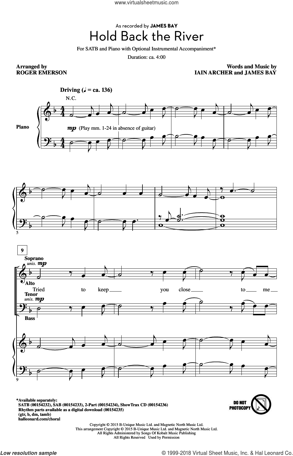 Hold Back The River sheet music for choir (SATB: soprano, alto, tenor, bass) by Roger Emerson, Iain Archer and James Bay, intermediate skill level