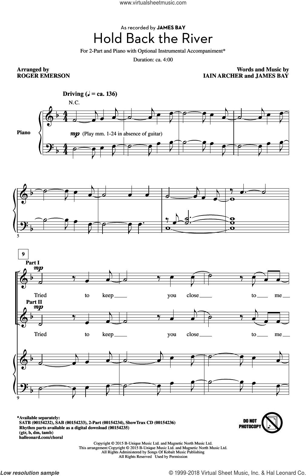 Hold Back The River sheet music for choir (2-Part) by Roger Emerson, Iain Archer and James Bay, intermediate duet. Score Image Preview.