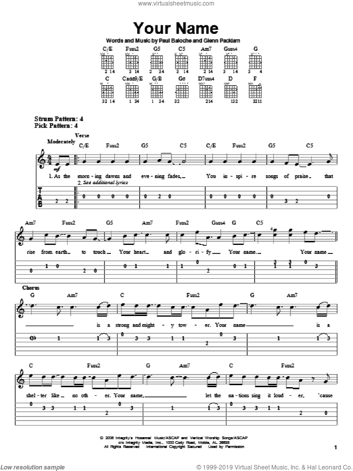 Your Name sheet music for guitar solo (easy tablature) by Paul Baloche and Glen Packlam, easy guitar (easy tablature)