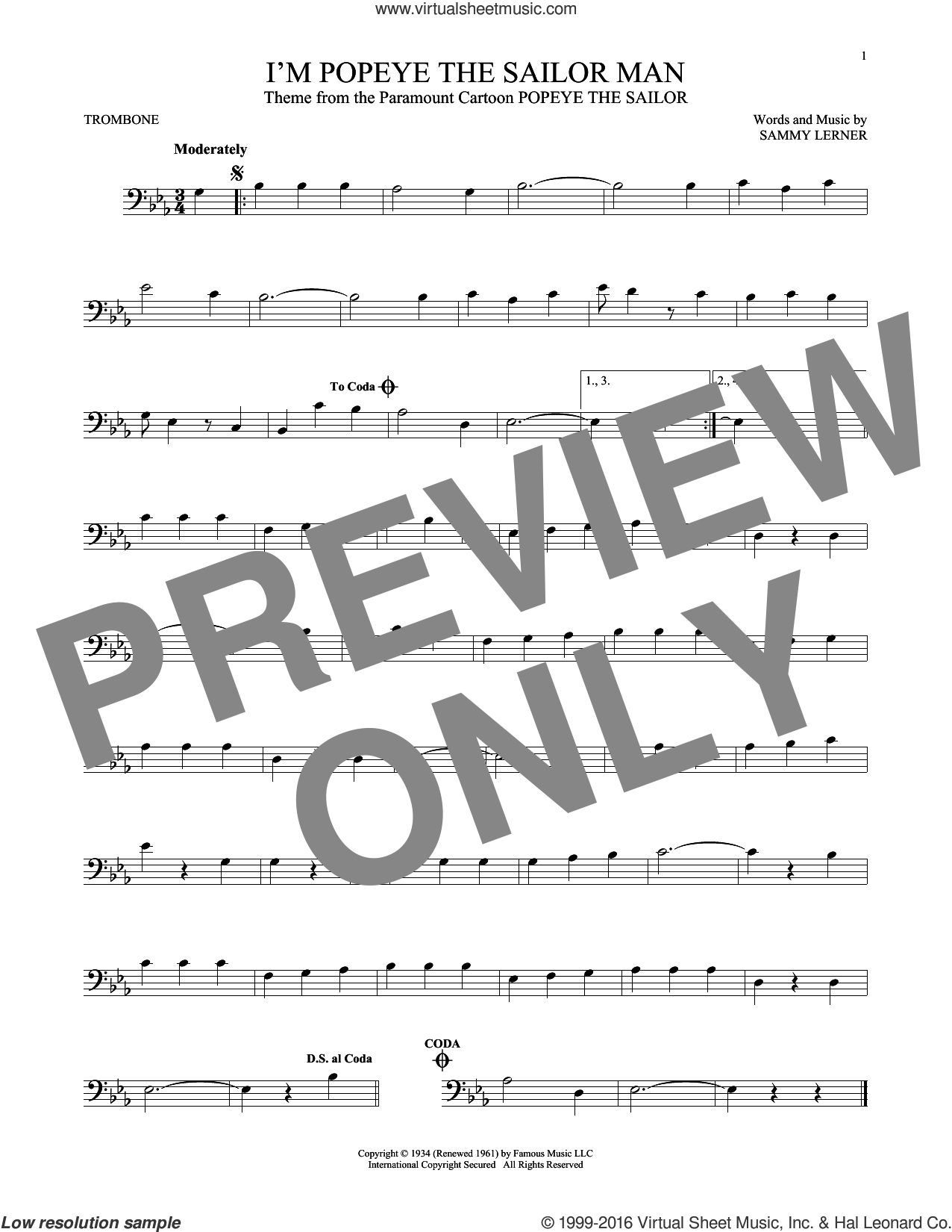 I'm Popeye The Sailor Man sheet music for trombone solo by Sammy Lerner, intermediate skill level