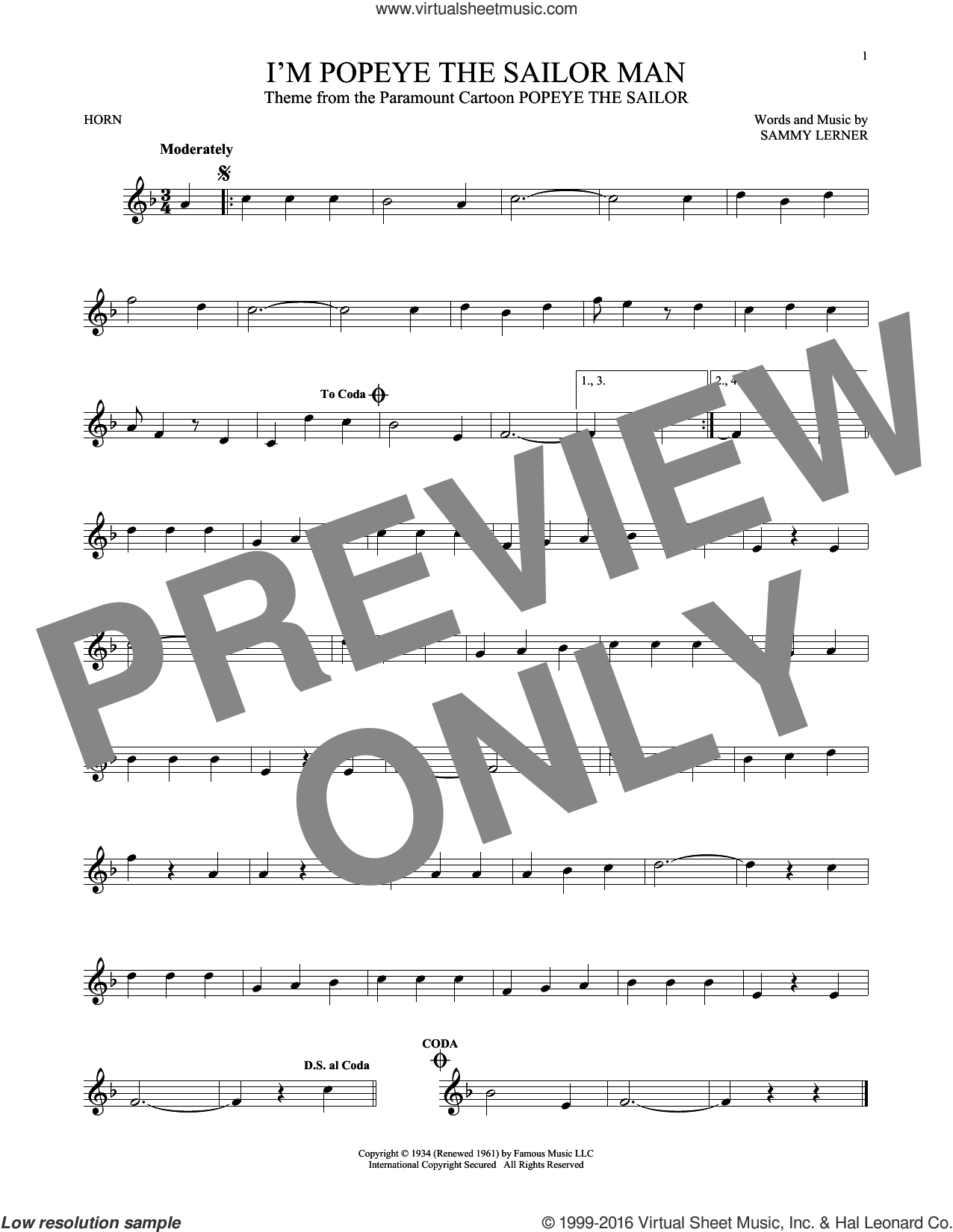 I'm Popeye The Sailor Man sheet music for horn solo by Sammy Lerner, intermediate skill level