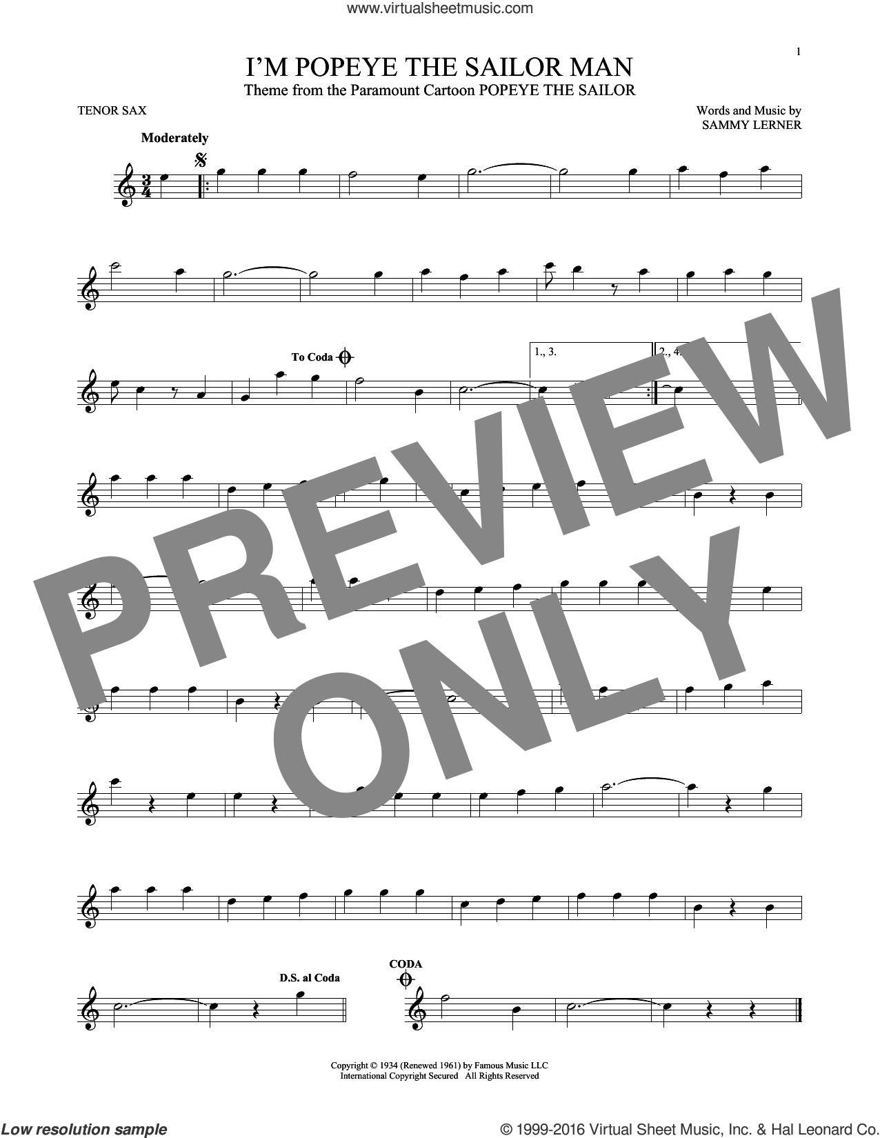 I'm Popeye The Sailor Man sheet music for tenor saxophone solo by Sammy Lerner. Score Image Preview.