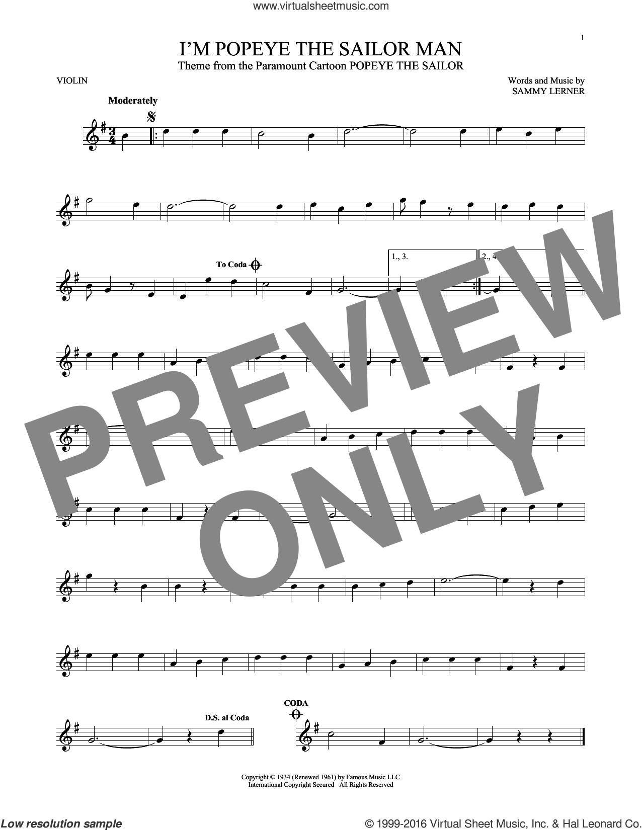I'm Popeye The Sailor Man sheet music for violin solo by Sammy Lerner, intermediate skill level