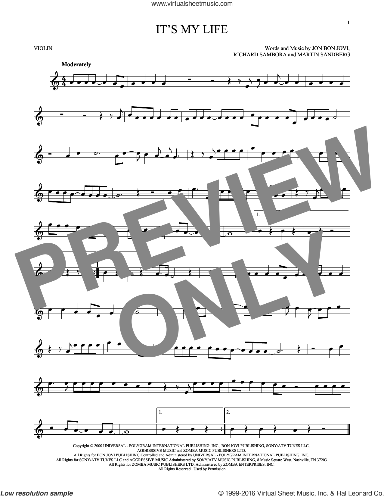 It's My Life sheet music for violin solo by Bon Jovi, Martin Sandberg and Richie Sambora, intermediate skill level