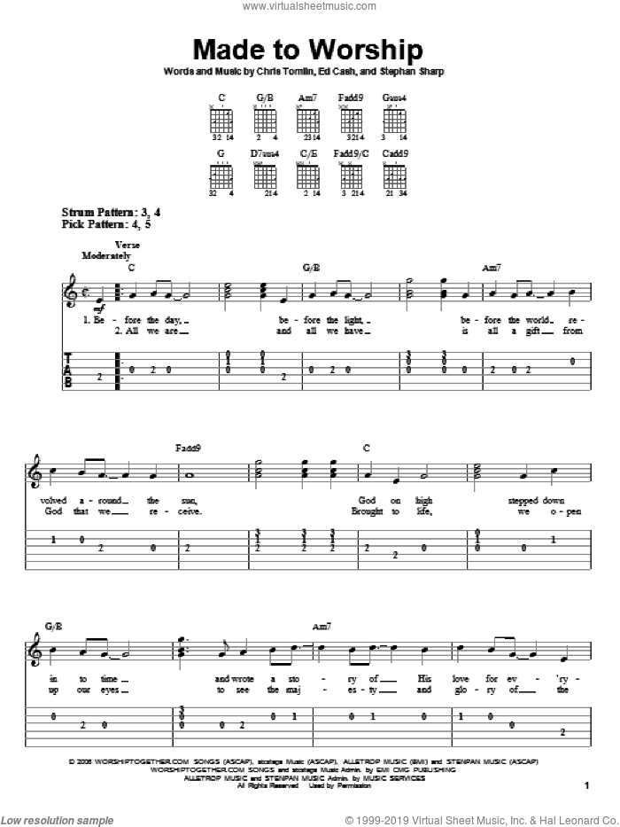 Made To Worship sheet music for guitar solo (easy tablature) by Chris Tomlin, Ed Cash and Stephan Sharp, easy guitar (easy tablature)