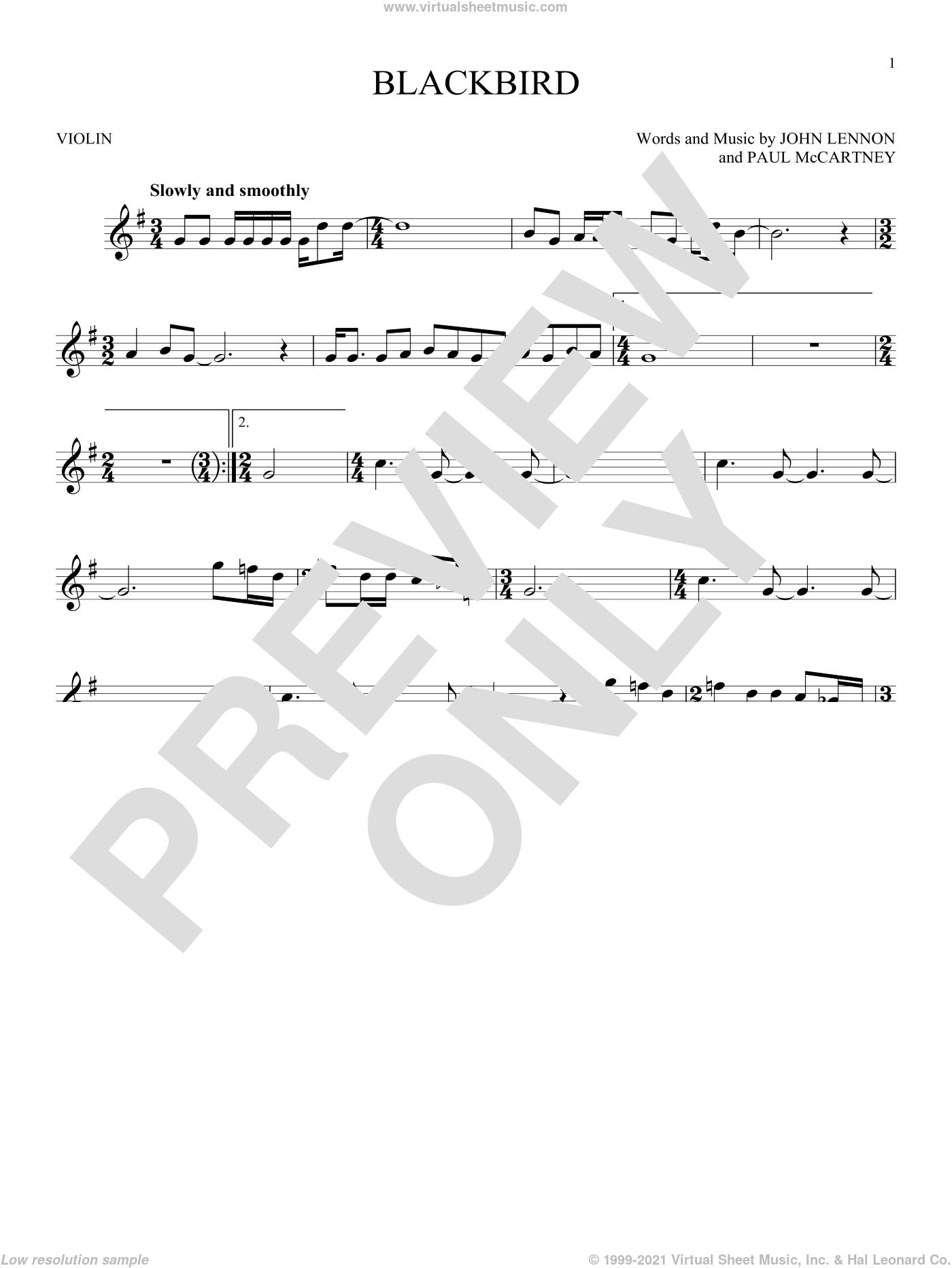 Blackbird sheet music for violin solo by The Beatles, Wings, John Lennon and Paul McCartney, intermediate skill level