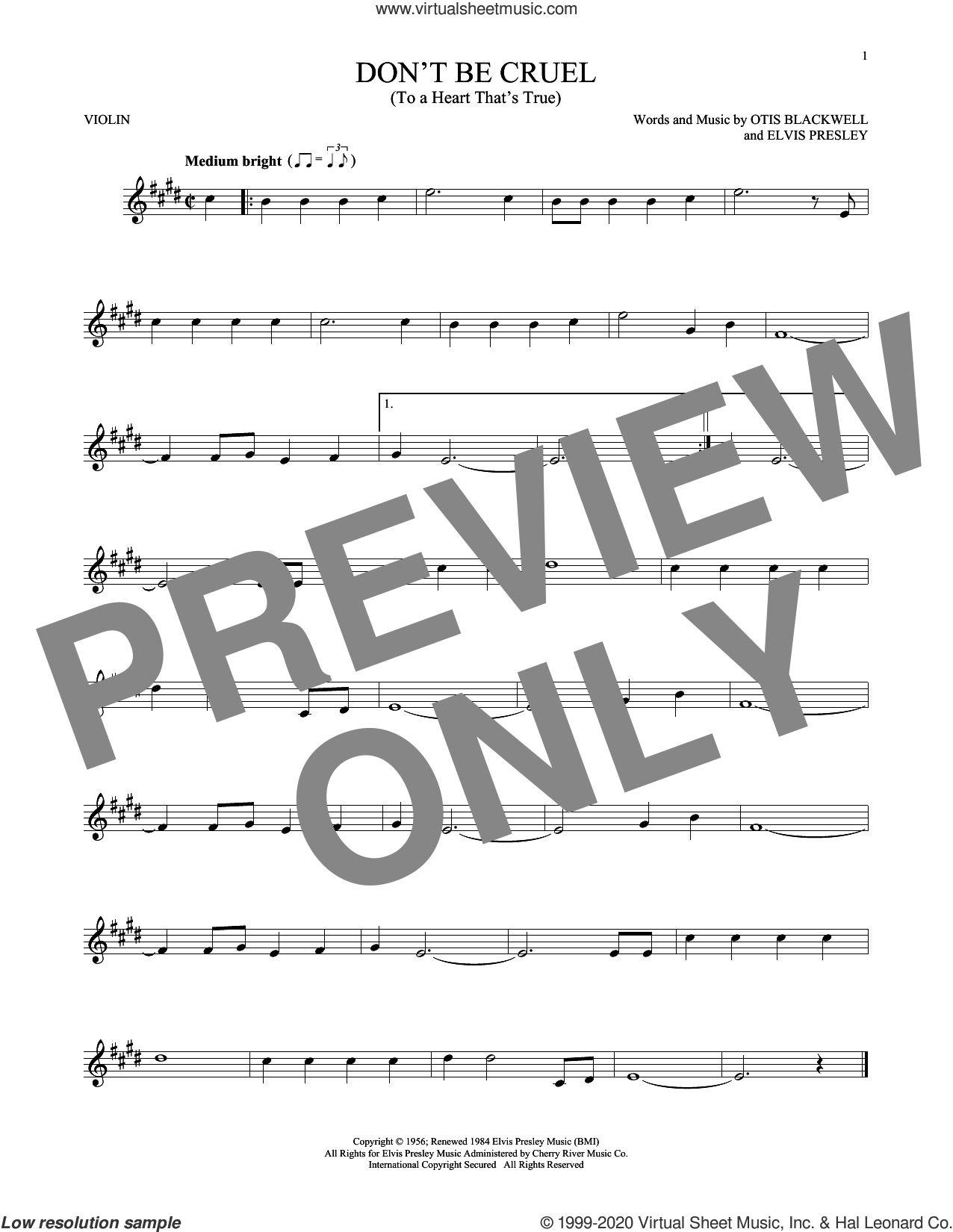 Don't Be Cruel (To A Heart That's True) sheet music for violin solo by Elvis Presley and Otis Blackwell, intermediate skill level